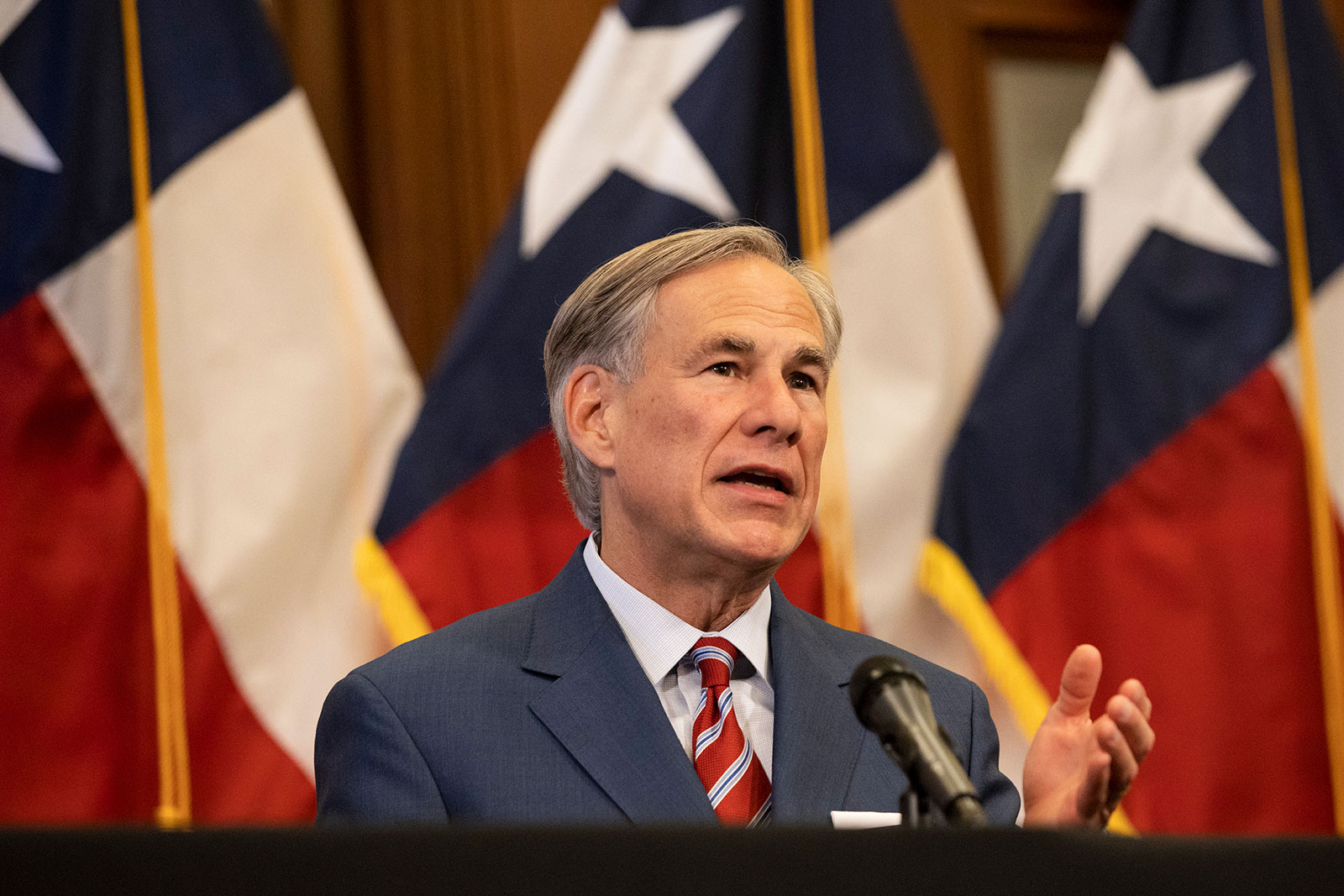 Texas Gov. Greg Abbott speaks at a press conference in Austin on May 18, 2020.