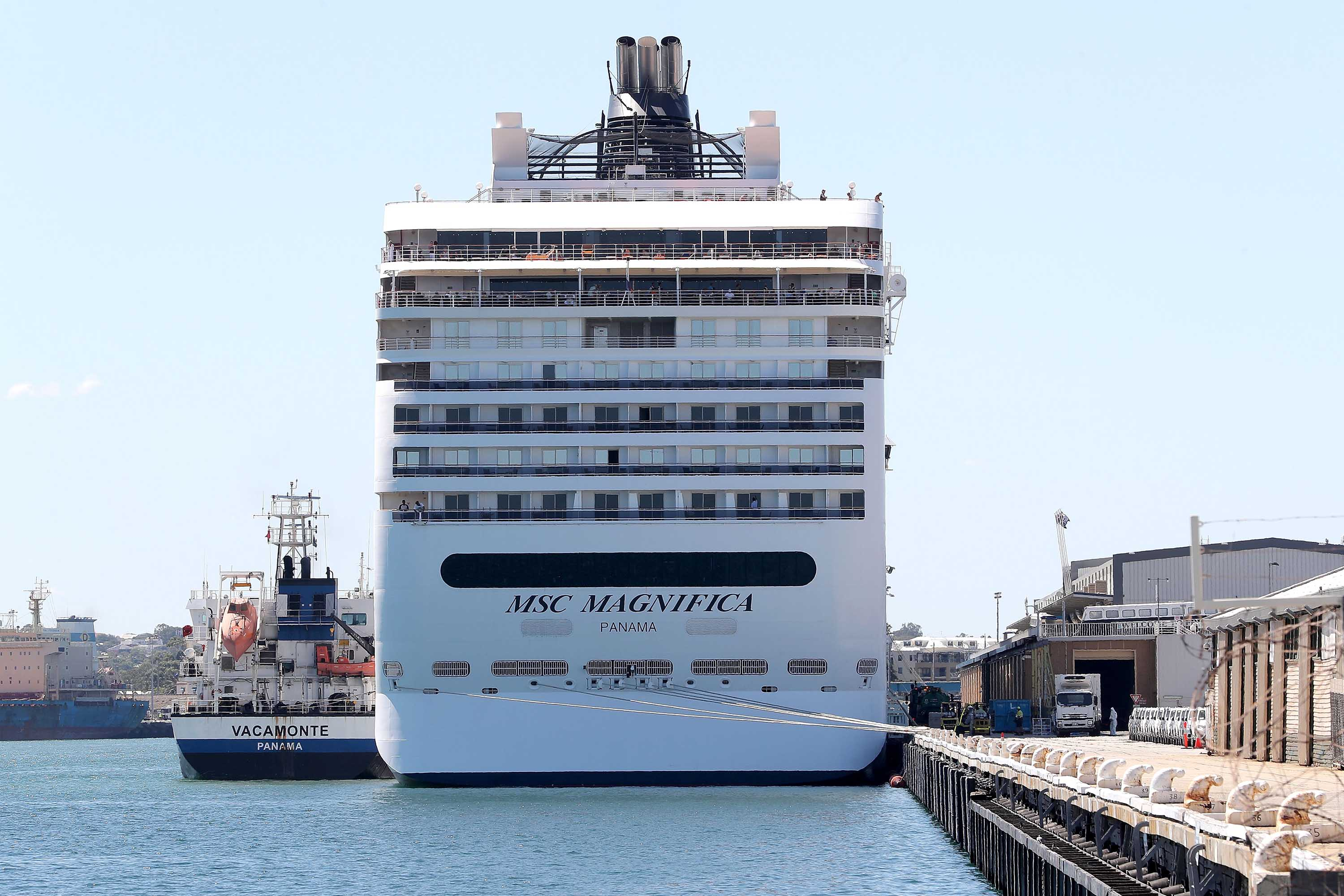 The MSC Magnifica cruise ship is seen docked during a refueling stopover in Fremantle, Australia, on March 24.