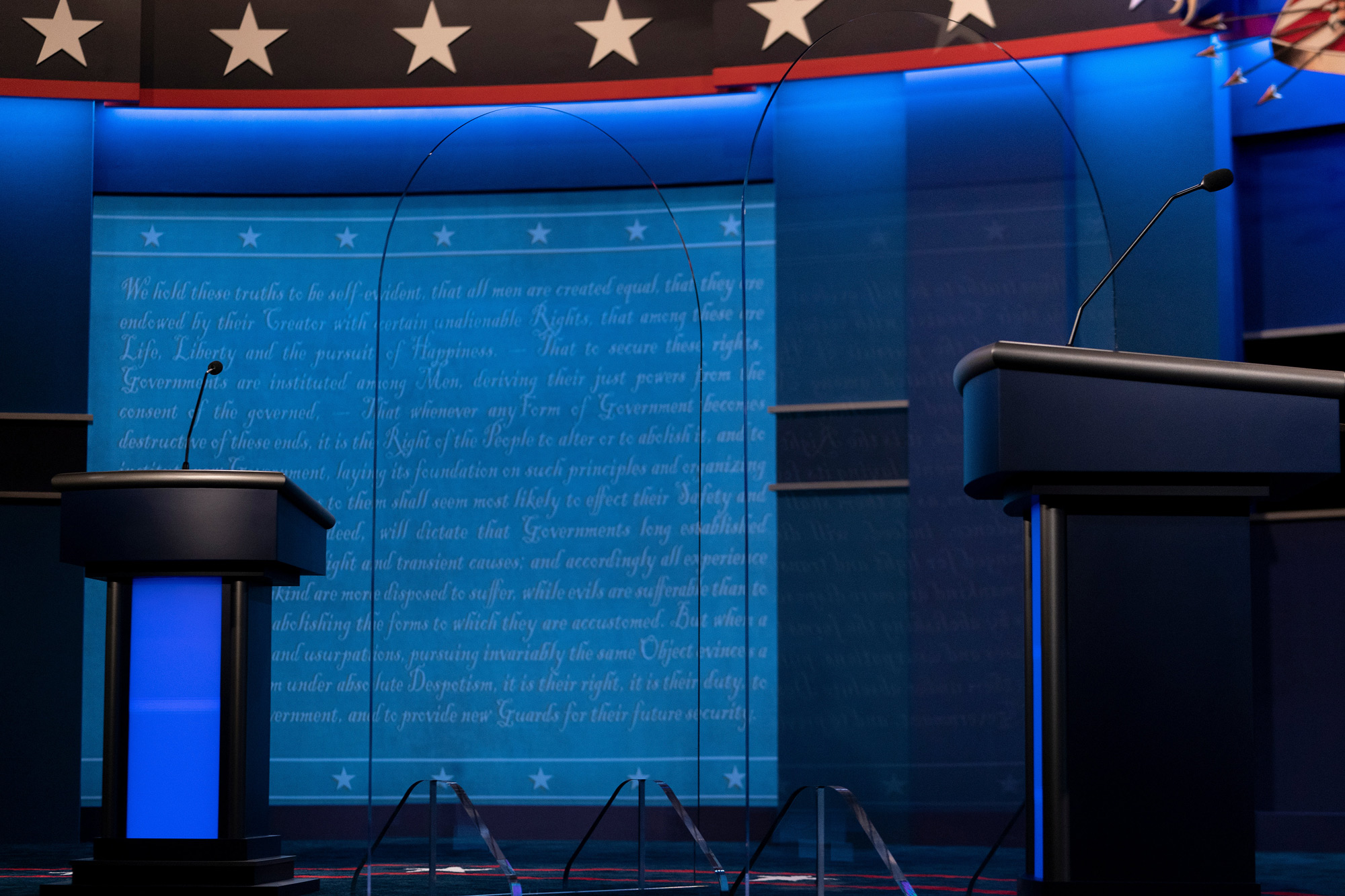 Clear dividers are seen on the debate stage as preparations are made for the final US Presidential debate at Belmont University on October 21 in Nashville.