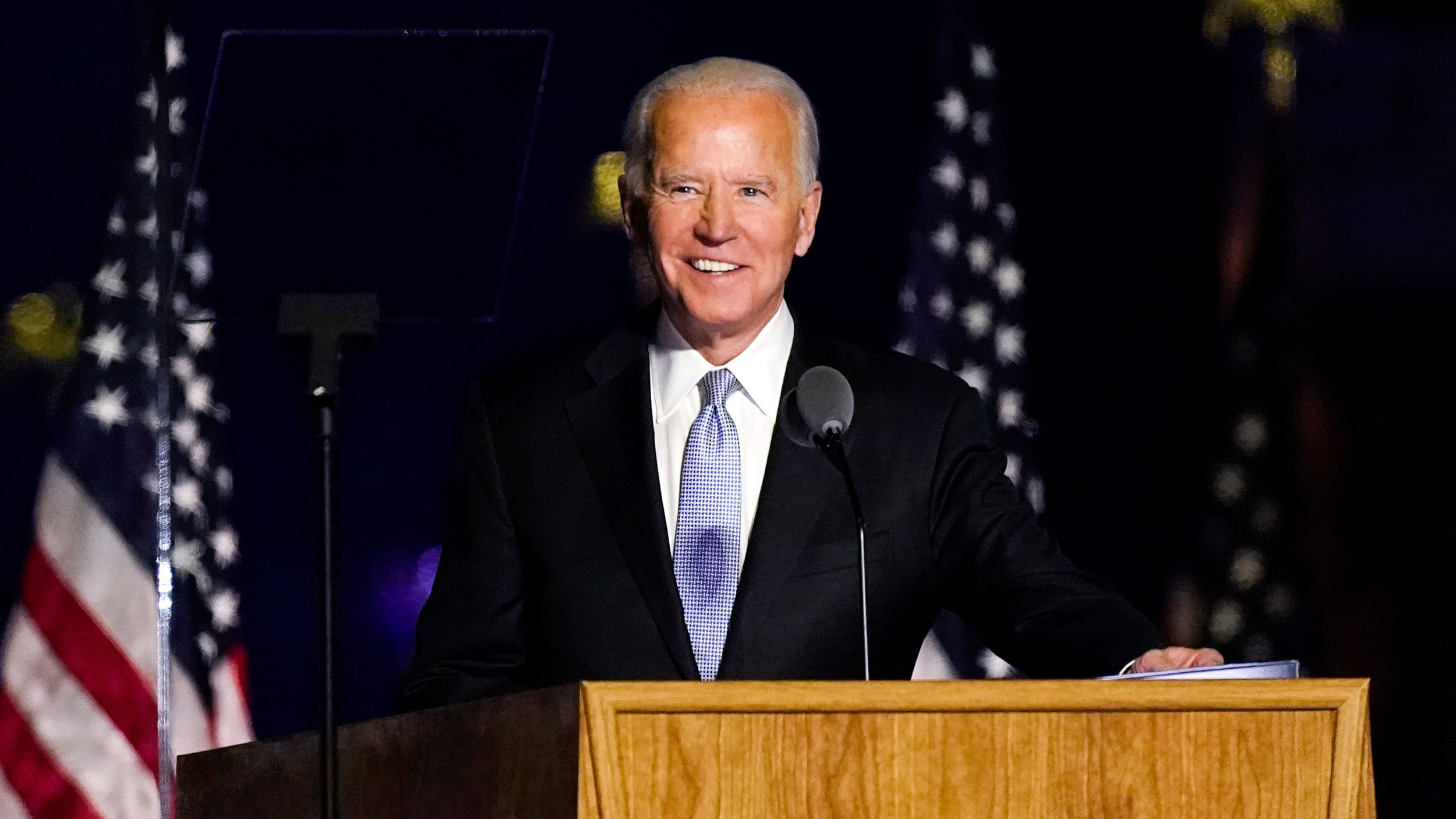 President-elect Joe Biden speaks Saturday, November 7 in Wilmington, Delaware.