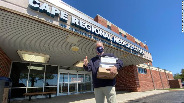 John Lynch delivers iPads to Cape Regional Medical Center in Cape May, New Jersey.