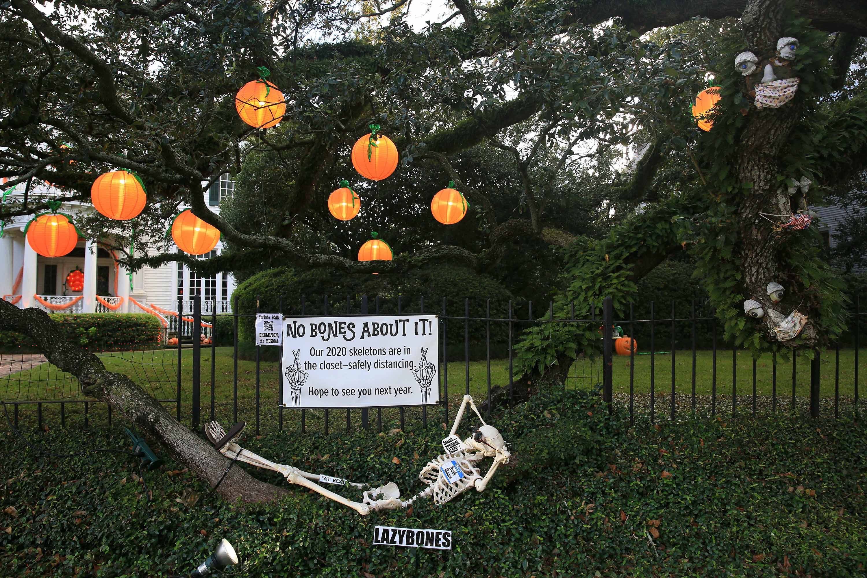 Halloween decorations are seen on a tree in New Orleans, Louisiana, on October 10.