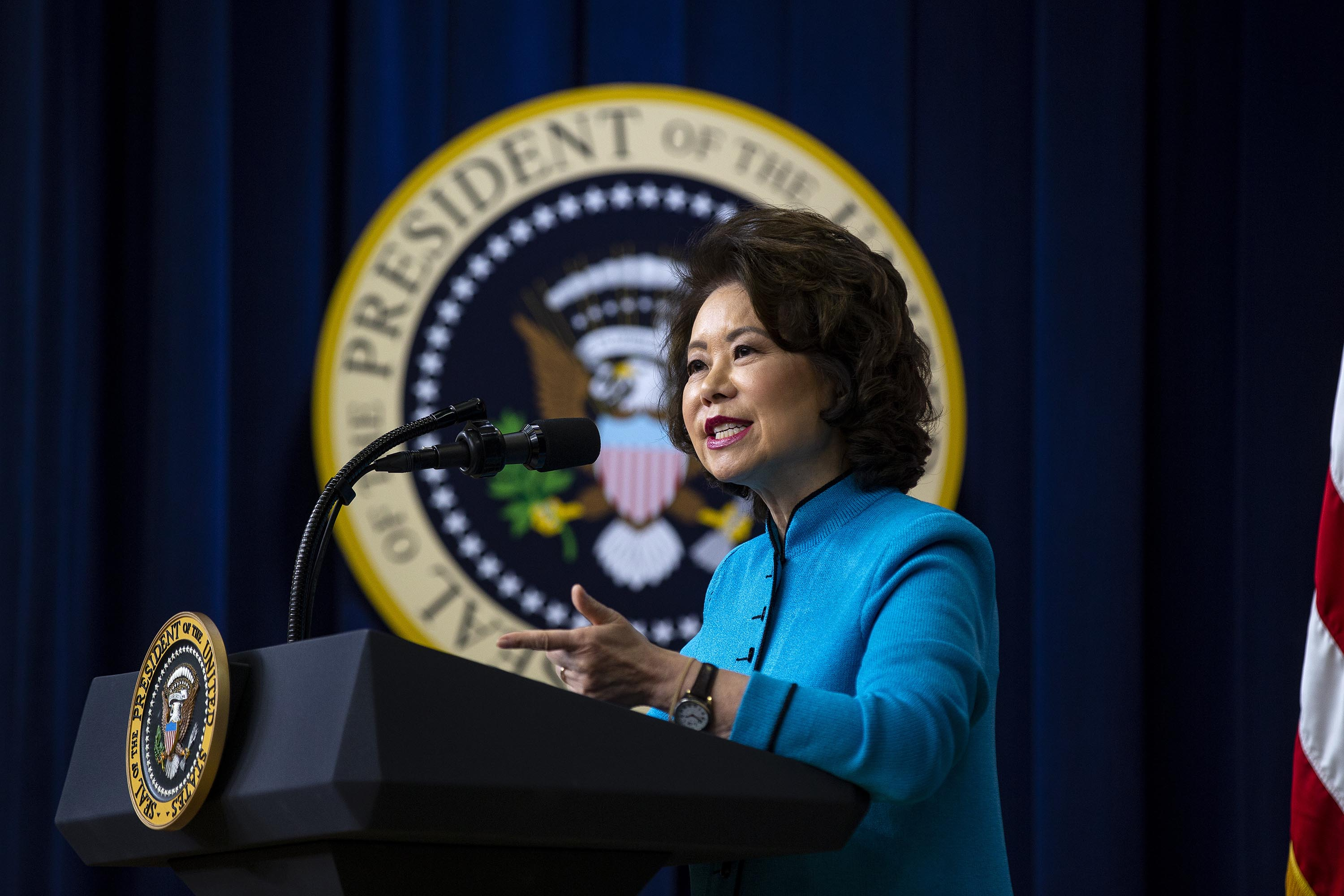 Elaine Chao, U.S. secretary of transportation, speaks in Washington, D.C., on October 23, 2018.