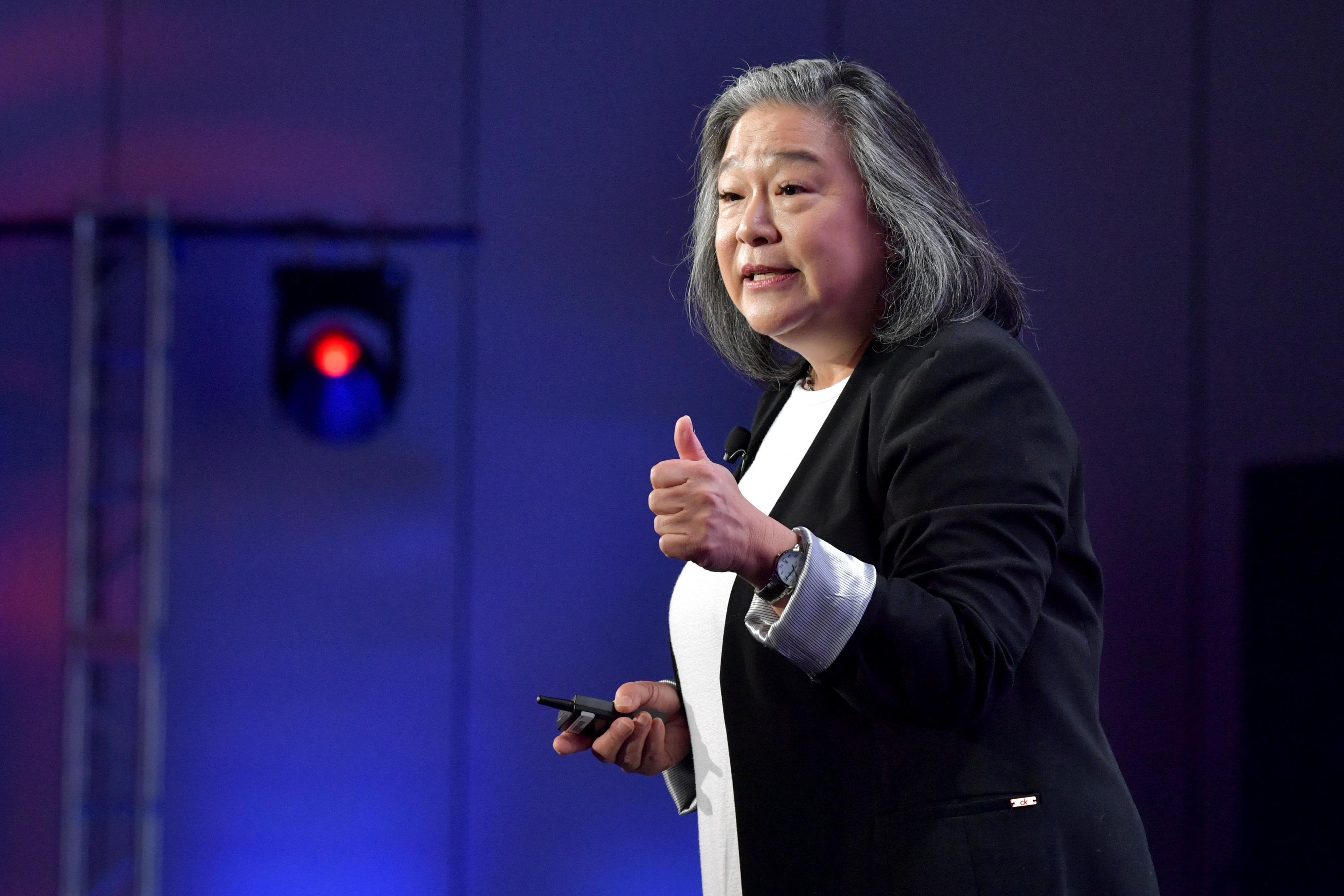 Tina Tchen, President & CEO of TIME'S UP, speaks onstage during The 2020 MAKERS Conference on Wednesday, February 12, in Los Angeles, California.