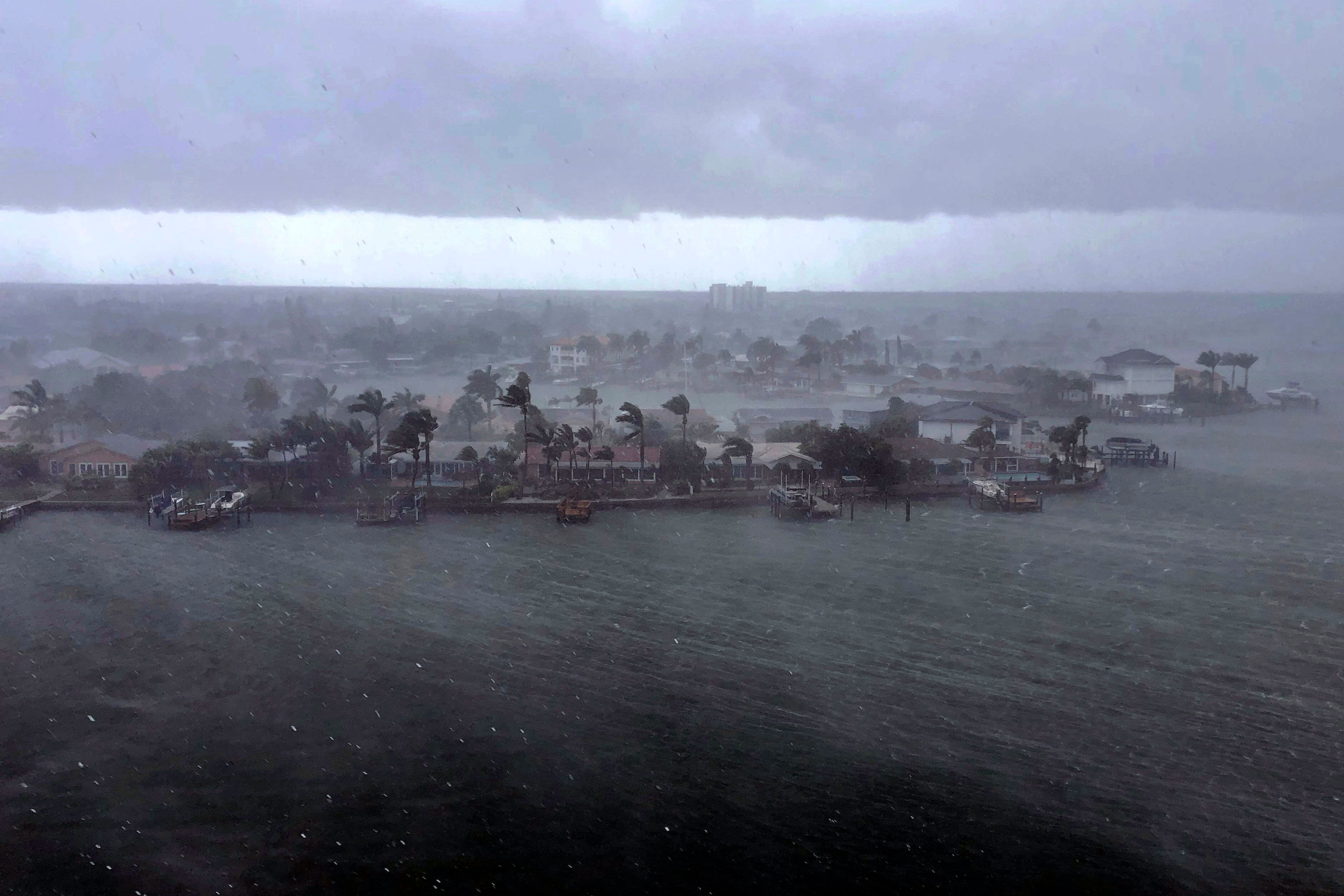 Tropical Storm Elsa brings a downpour of rain over the neighborhood of Paradise Island on Treasure Island, Florida, on Tuesday afternoon, July 6.