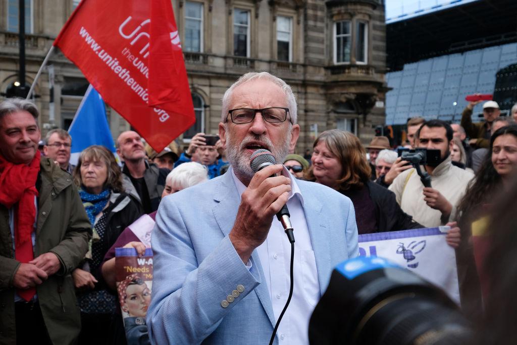 Corbyn talks to the crowd in Glasgow.