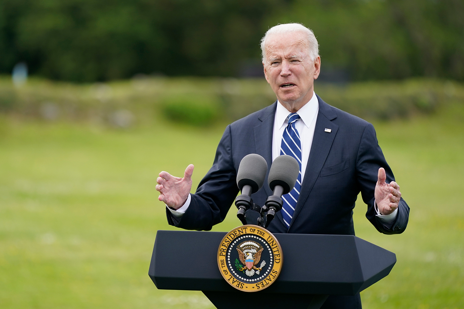President Joe Biden speaks about his administration's global Covid-19 vaccination efforts ahead of the G7 summit, June 10, in St. Ives, England.