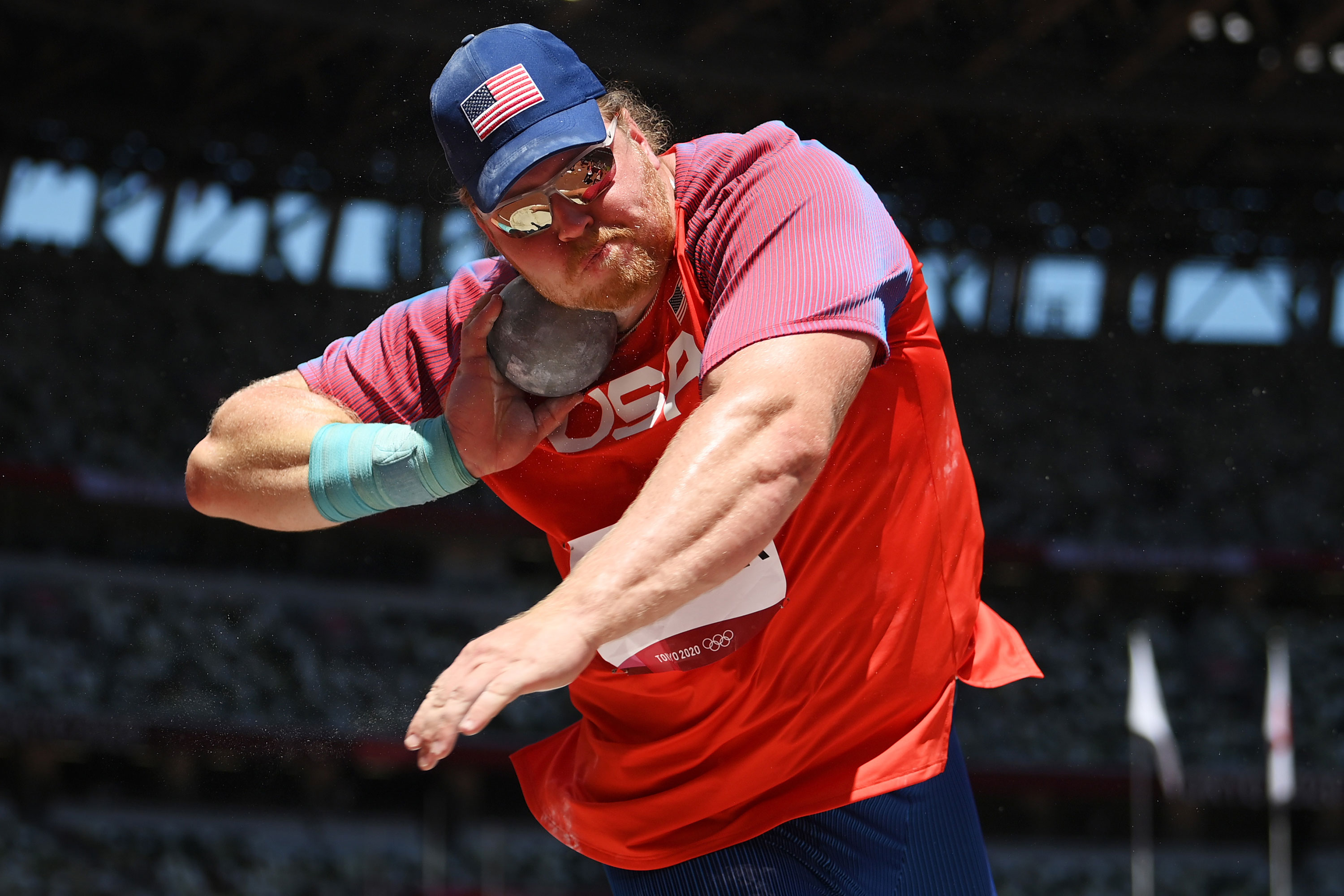 American Ryan Crouser competes in the shot put final on August 5.