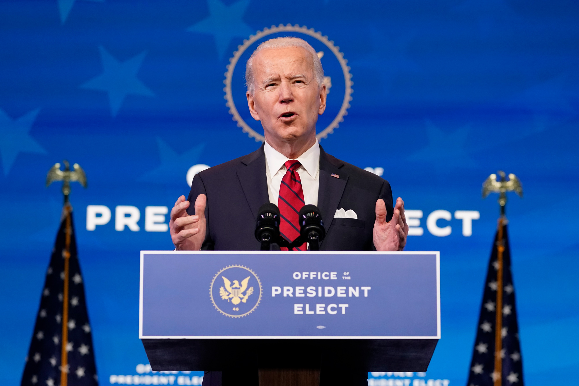 President-elect Joe Biden speaks during an event at The Queen theater on January 15 in Wilmington, Delaware.