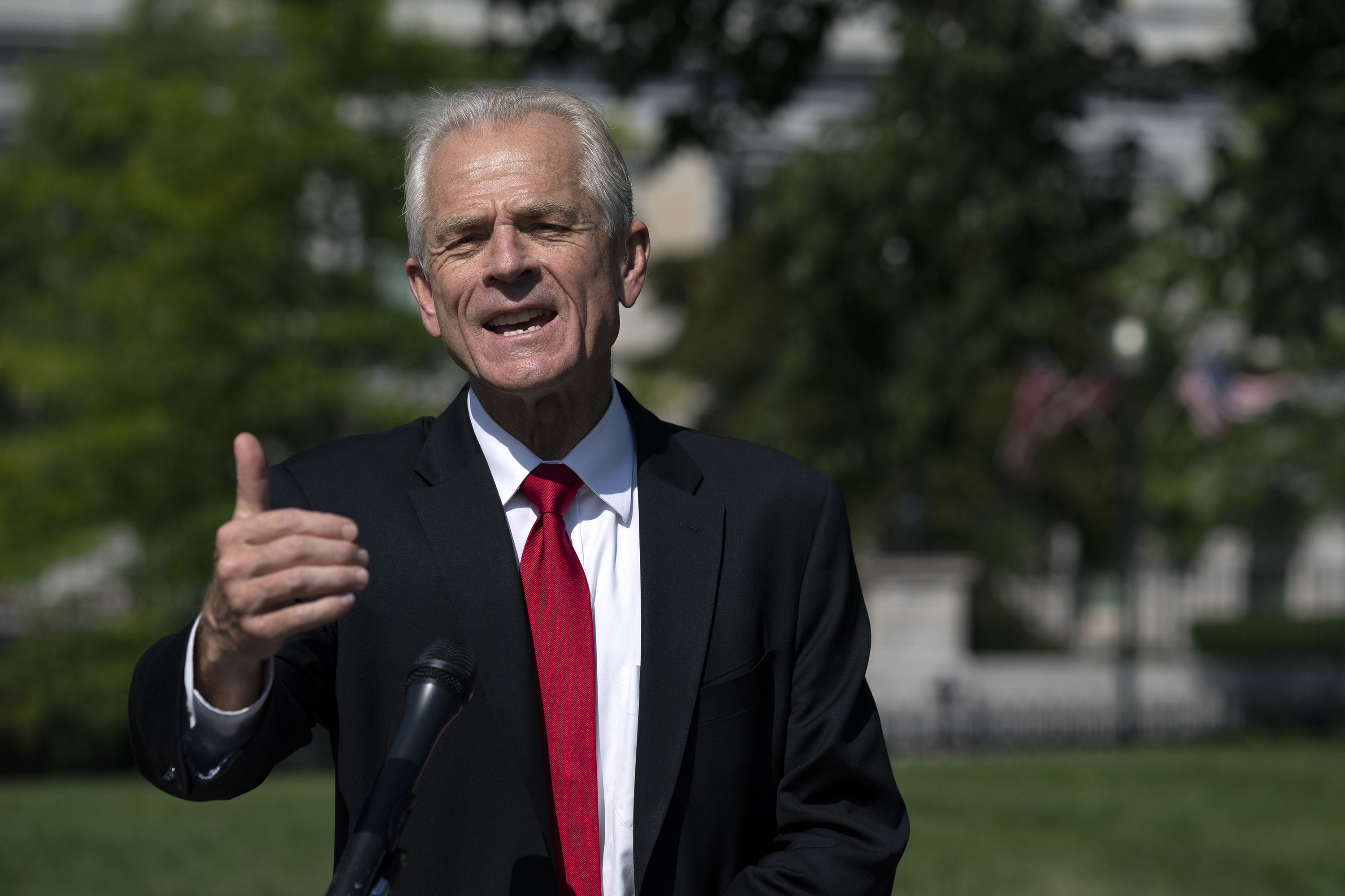 Peter Navarro, director of the National Trade Council, speaks to members of the media outside the White House in Washington, D.C., on August 28.