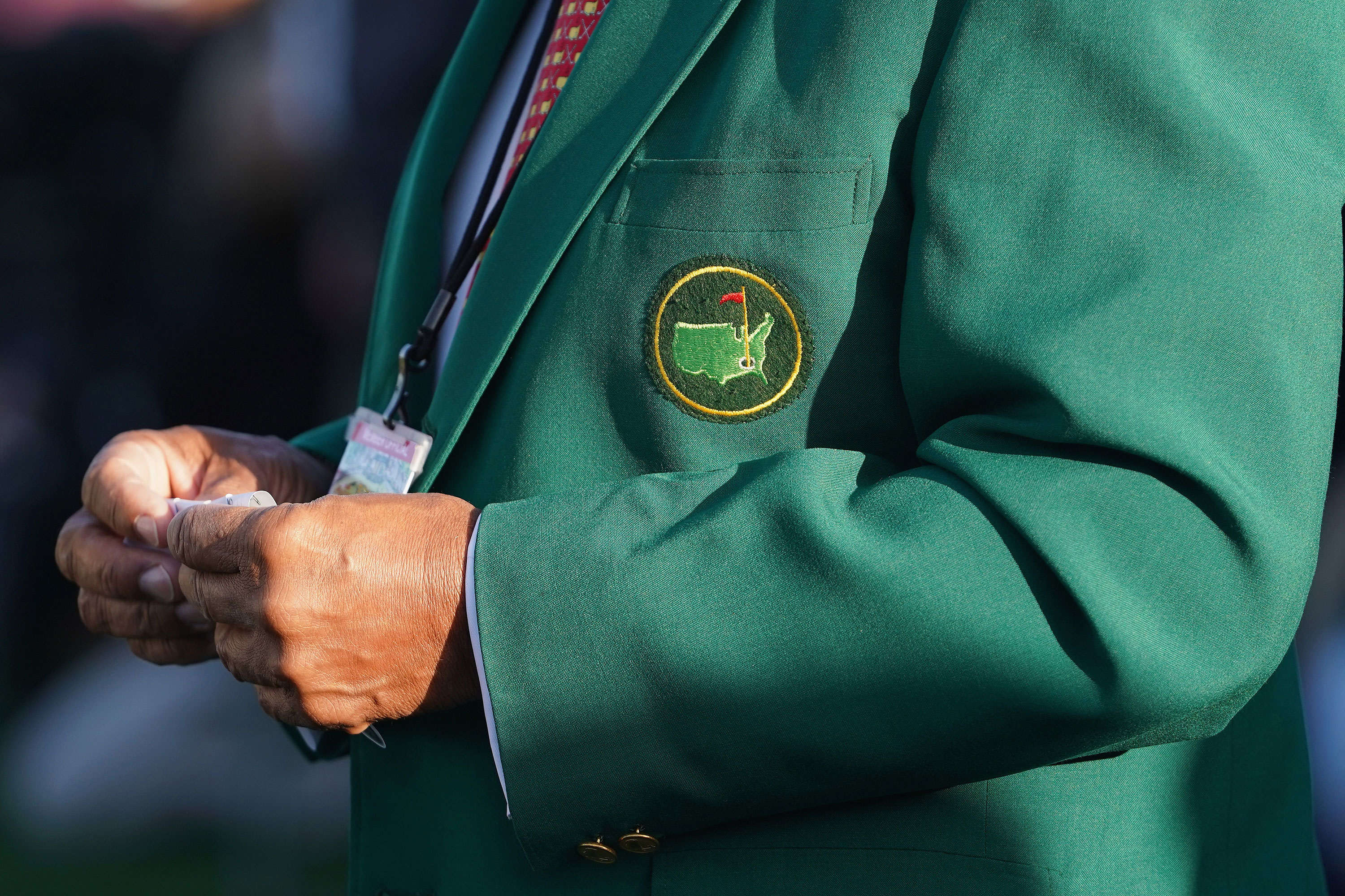 A Masters logo is seen on a jacket during the 2018 Masters Tournament in Augusta, Georgia.