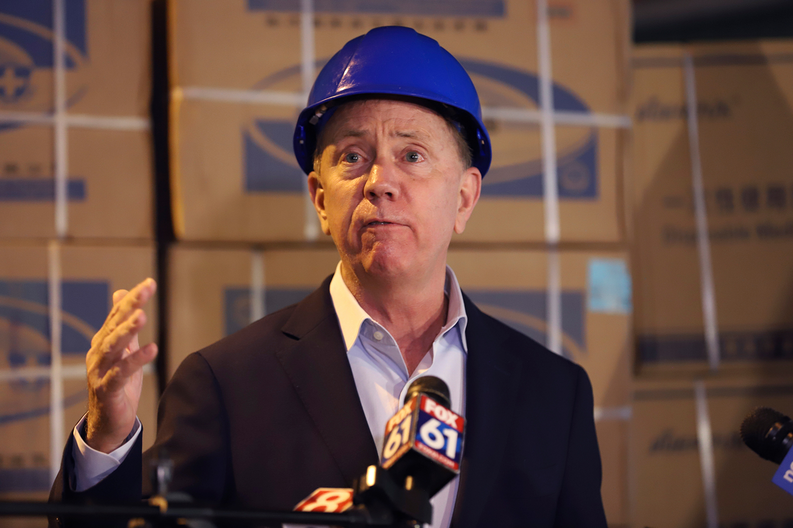 Gov. Ned Lamont speaks to the media in New Britain, Connecticut on Tuesday, May 12.
