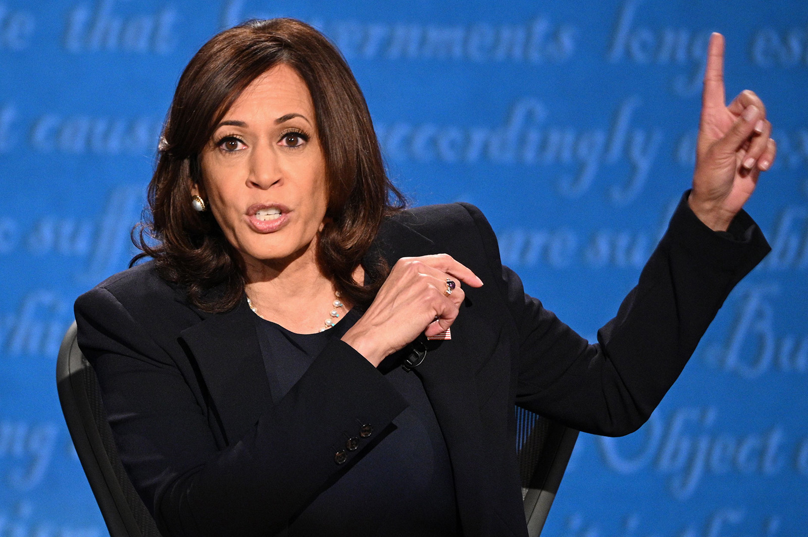 Democratic vice presidential nominee and Senator from California, Kamala Harris gestures as she speaks during the vice presidential debate in Salt Lake City on Wednesday.