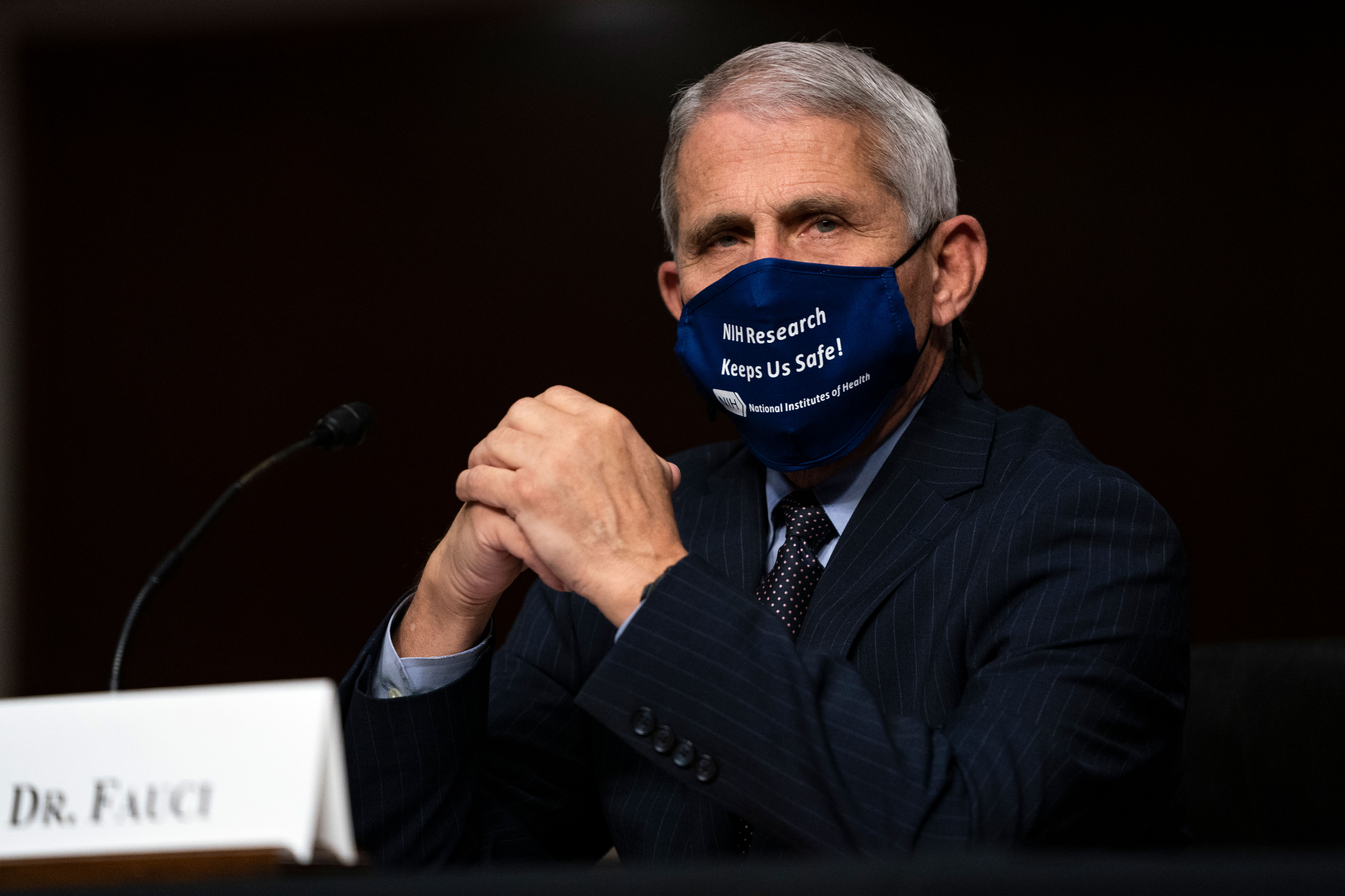 Dr. Anthony Fauci testifies at a hearing  in Washington, DC. on September 23.