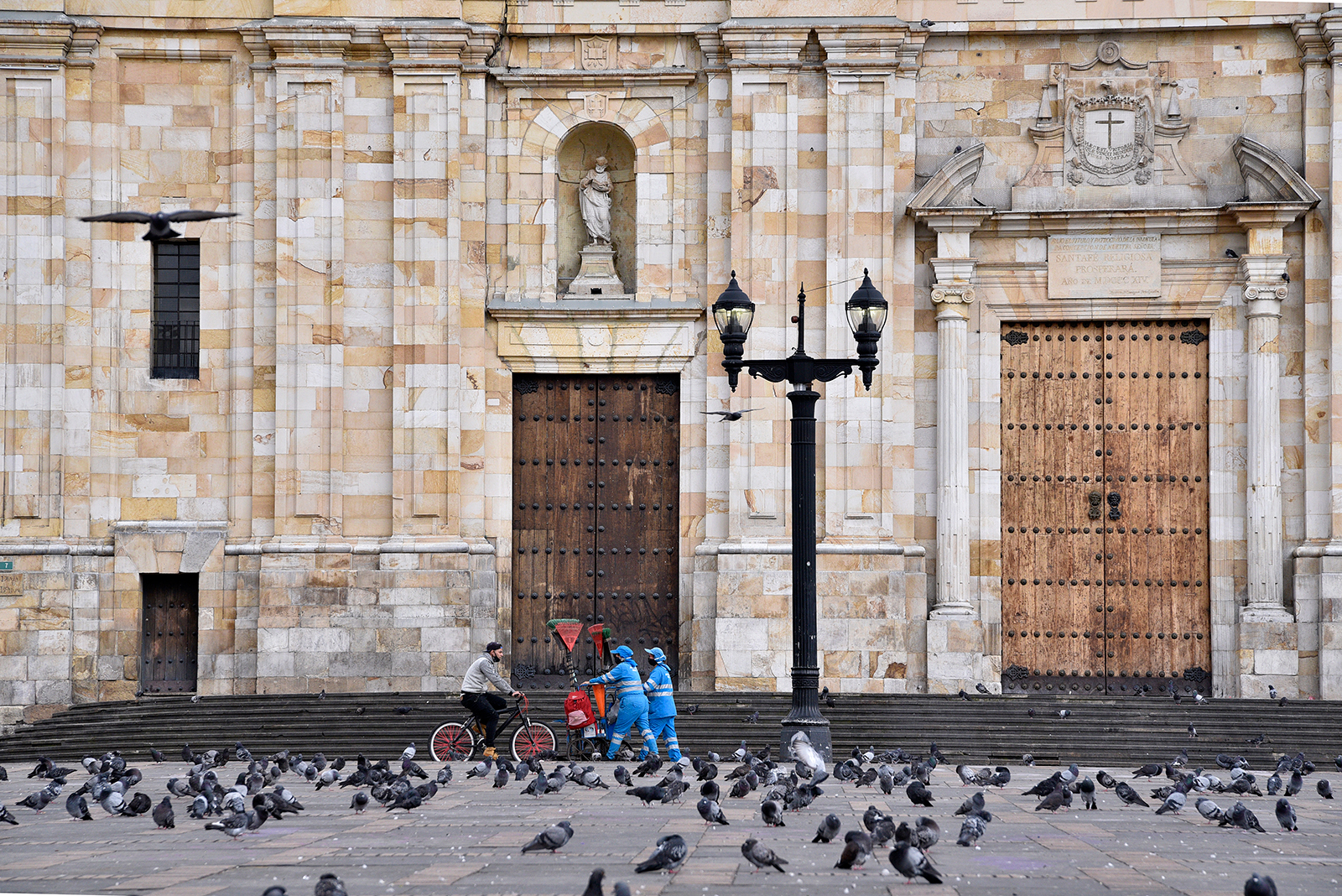 A near empty Plaza de Bolivar is seen during a reinstated lockdown in downtown Bogota, Colombia, on April 10.