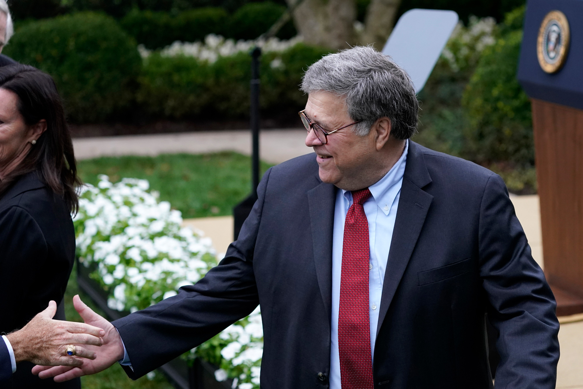 Attorney General William Barr attends President Donald Trump's announcement of Judge Amy Coney Barrett as his nominee to the Supreme Court in the Rose Garden at the White House on September 26 in Washington, DC.