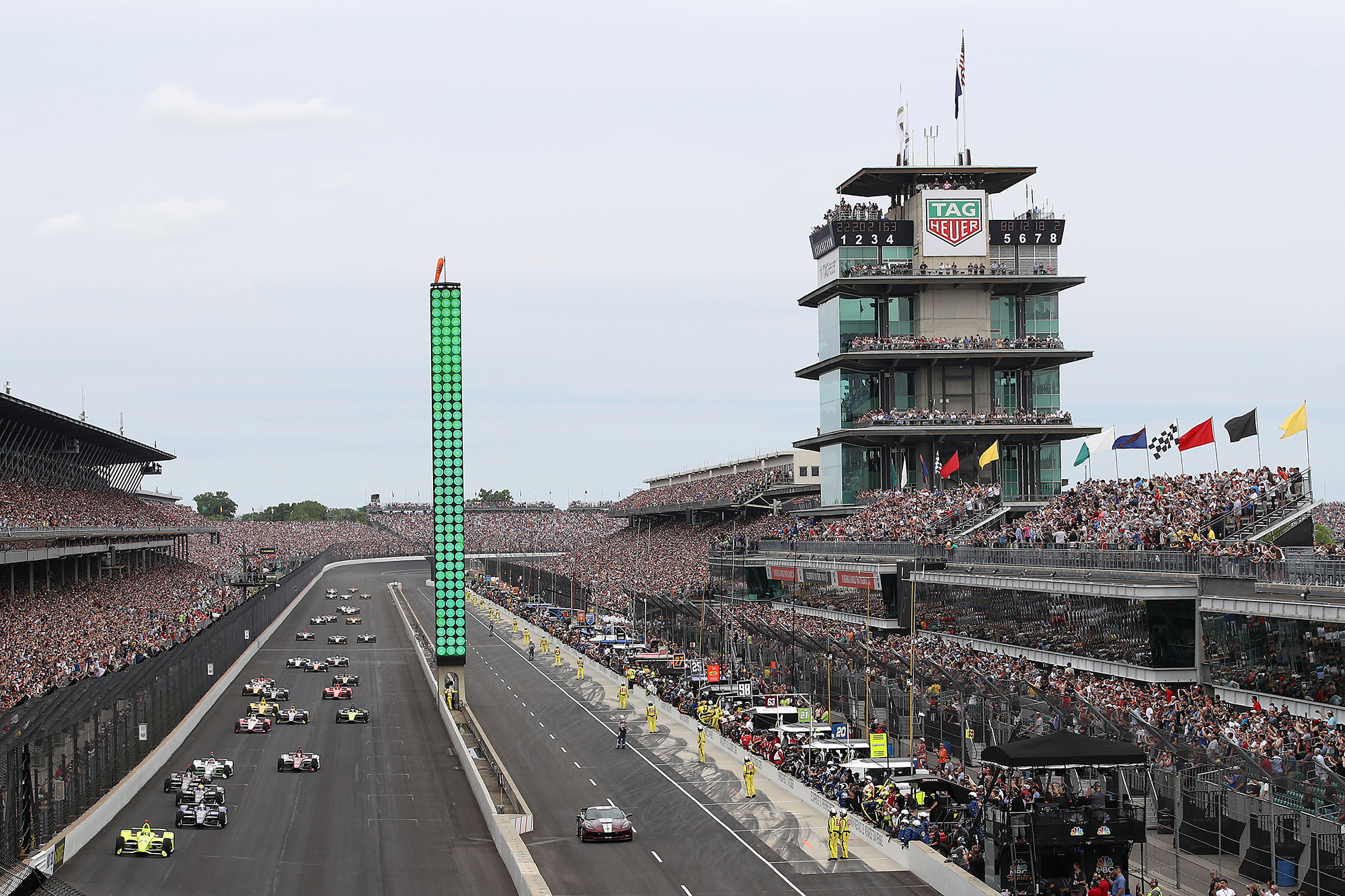 Drivers compete during the 103rd running of the Indianapolis 500 at Indianapolis Motor Speedway on May 26, 2019.
