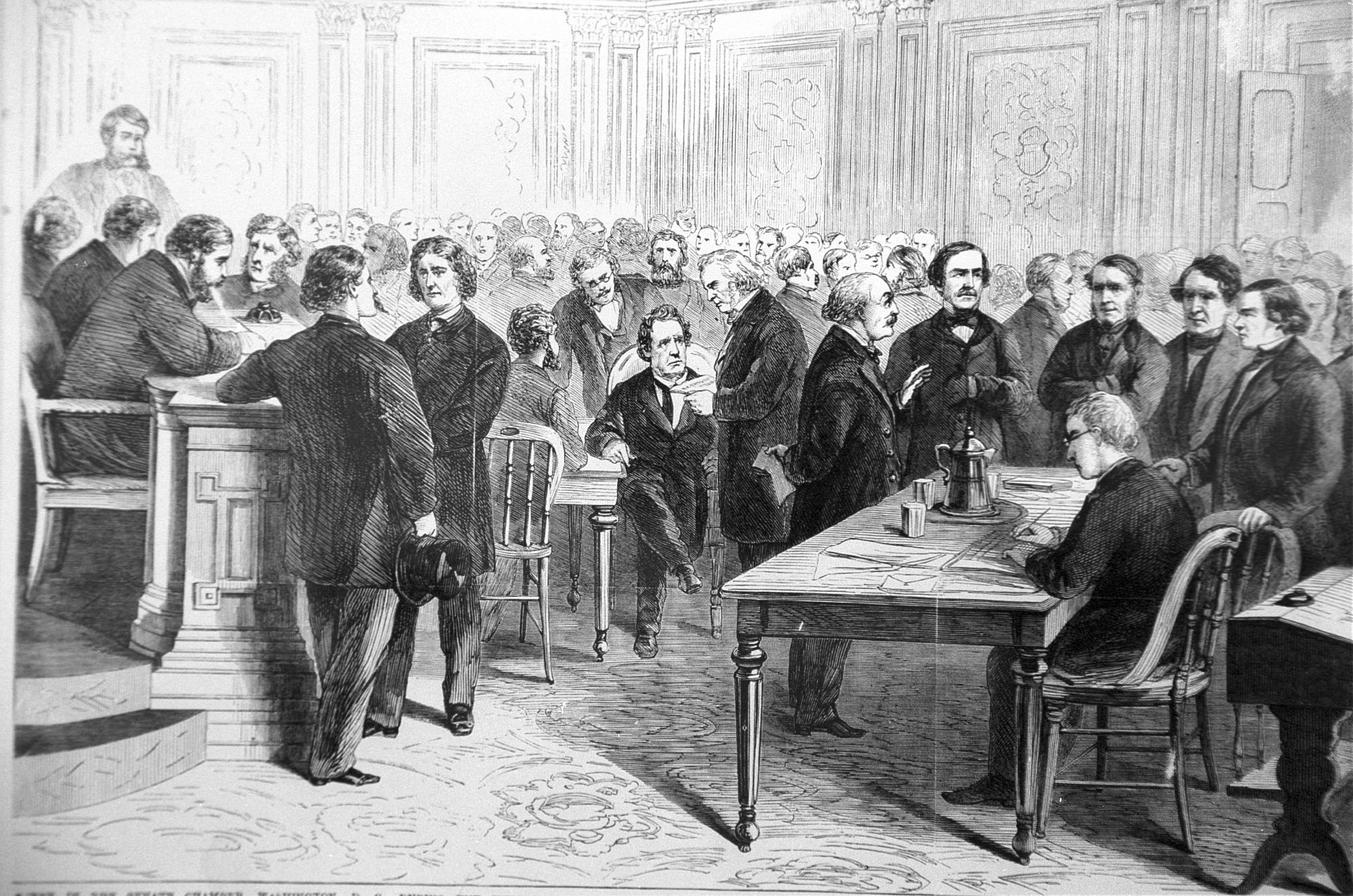 An engraving showing the impeachment trial of President Andrew Johnson in the Senate on March 13, 1868.