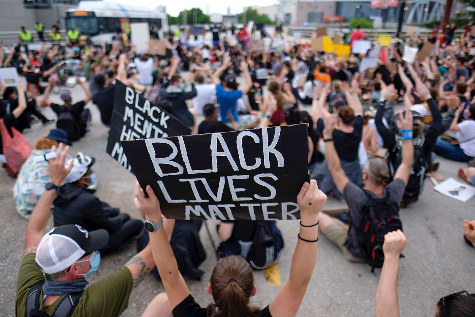 Groups of demonstrators gather as protests continue in front of city hall on June 5, in Atlanta.