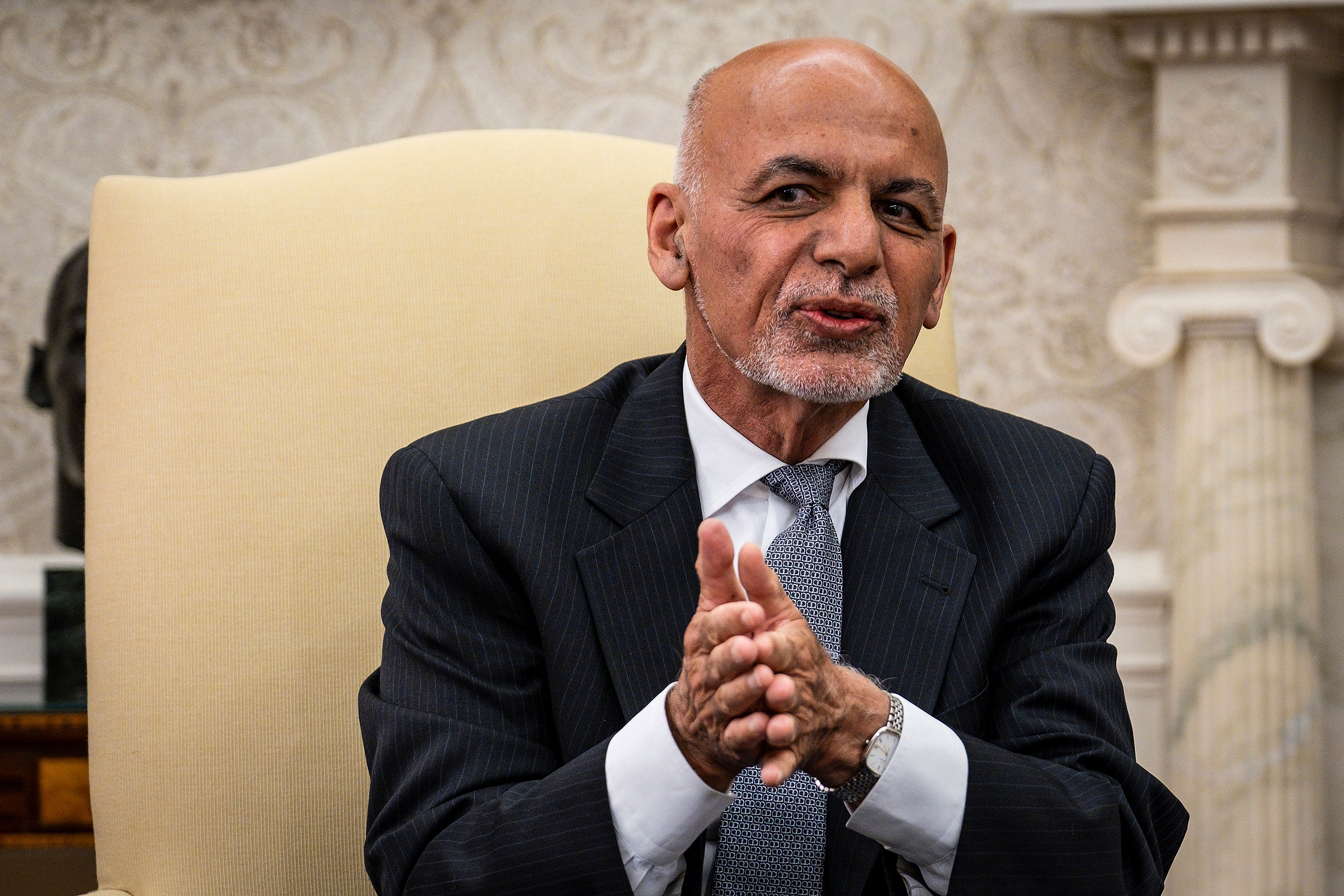Former Afghan president Ashraf Ghani makes brief remarks during a meeting with President Joe Biden in the Oval Office on June 25.