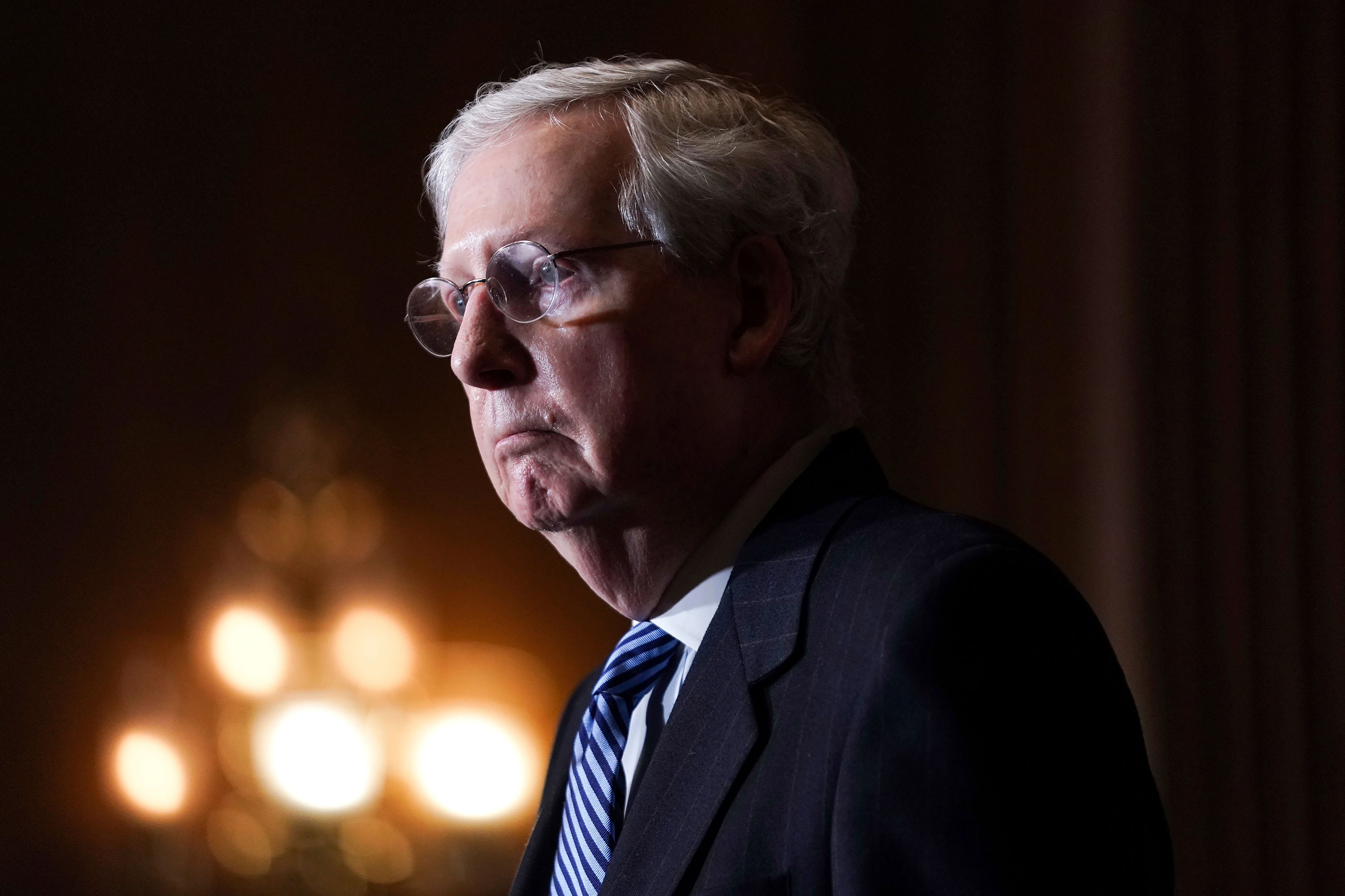 Senate Majority Leader Mitch McConnell talks during a news conference on December 8 on Capitol Hill in Washington, DC.