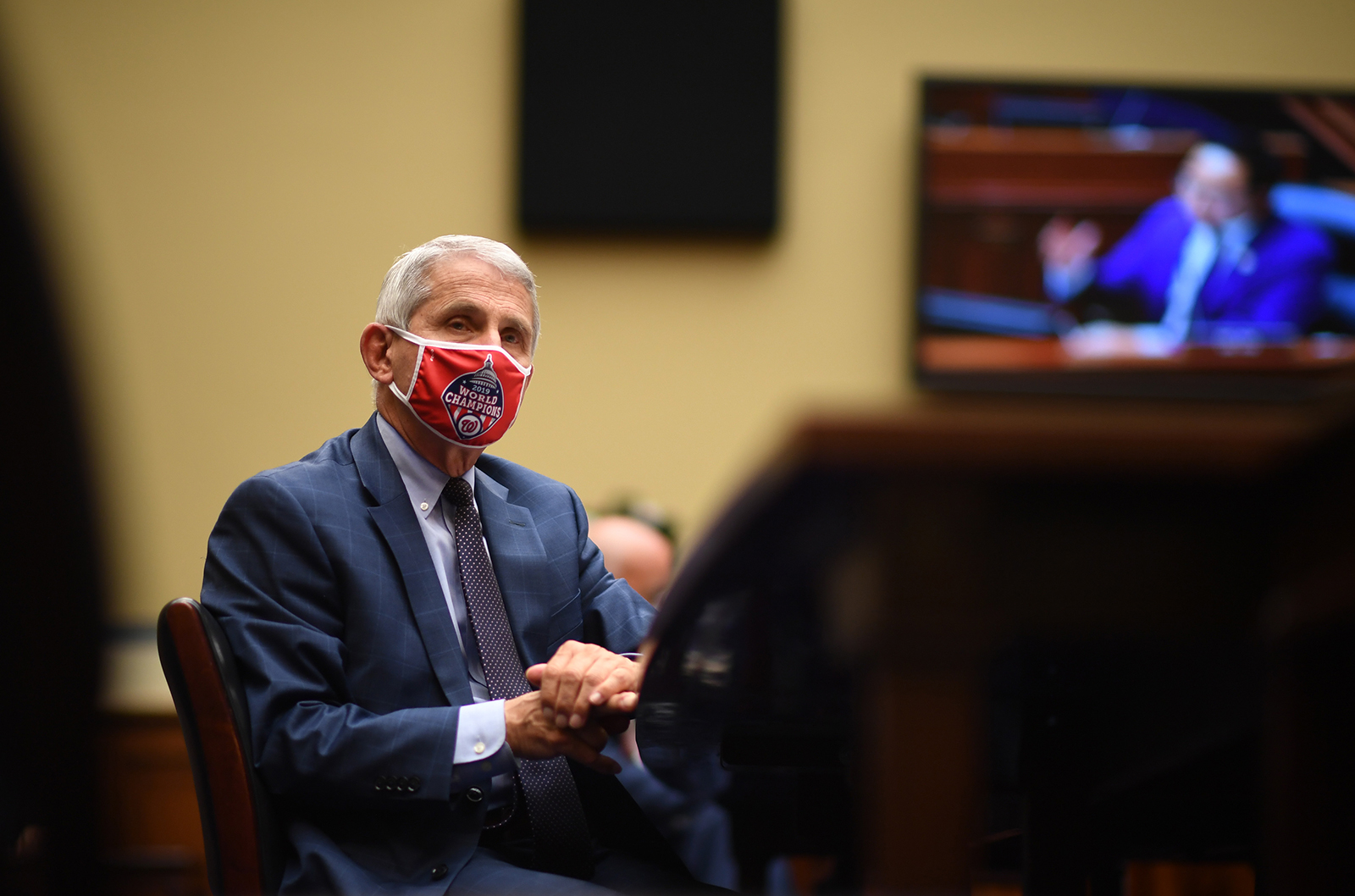 Dr. Anthony Fauci, director of the National Institute for Allergy and Infectious Diseases, testifies before a House Subcommittee on the Coronavirus Crisis hearing on July 31 in Washington.