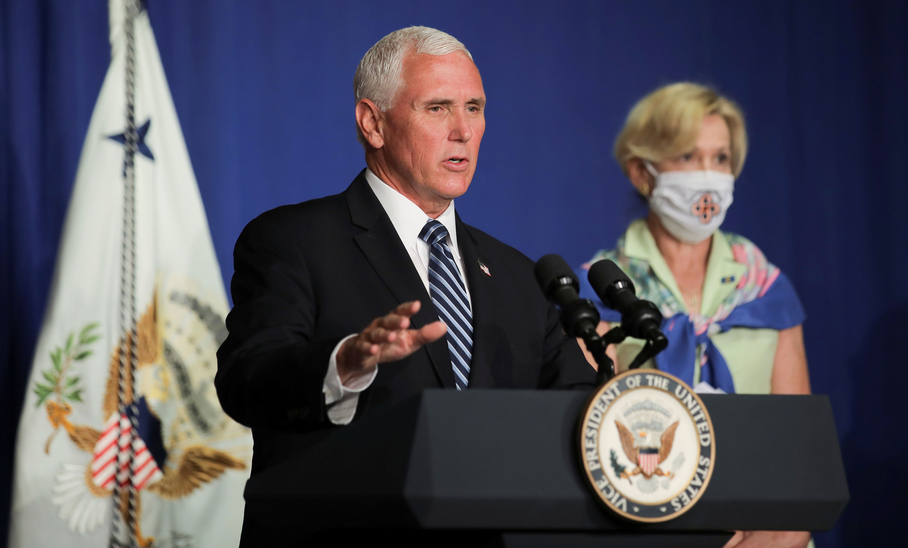 Vice President Mike Pence leads a White House coronavirus disease task force briefing at the U.S. Education Department in Washington, DC., on July 8.