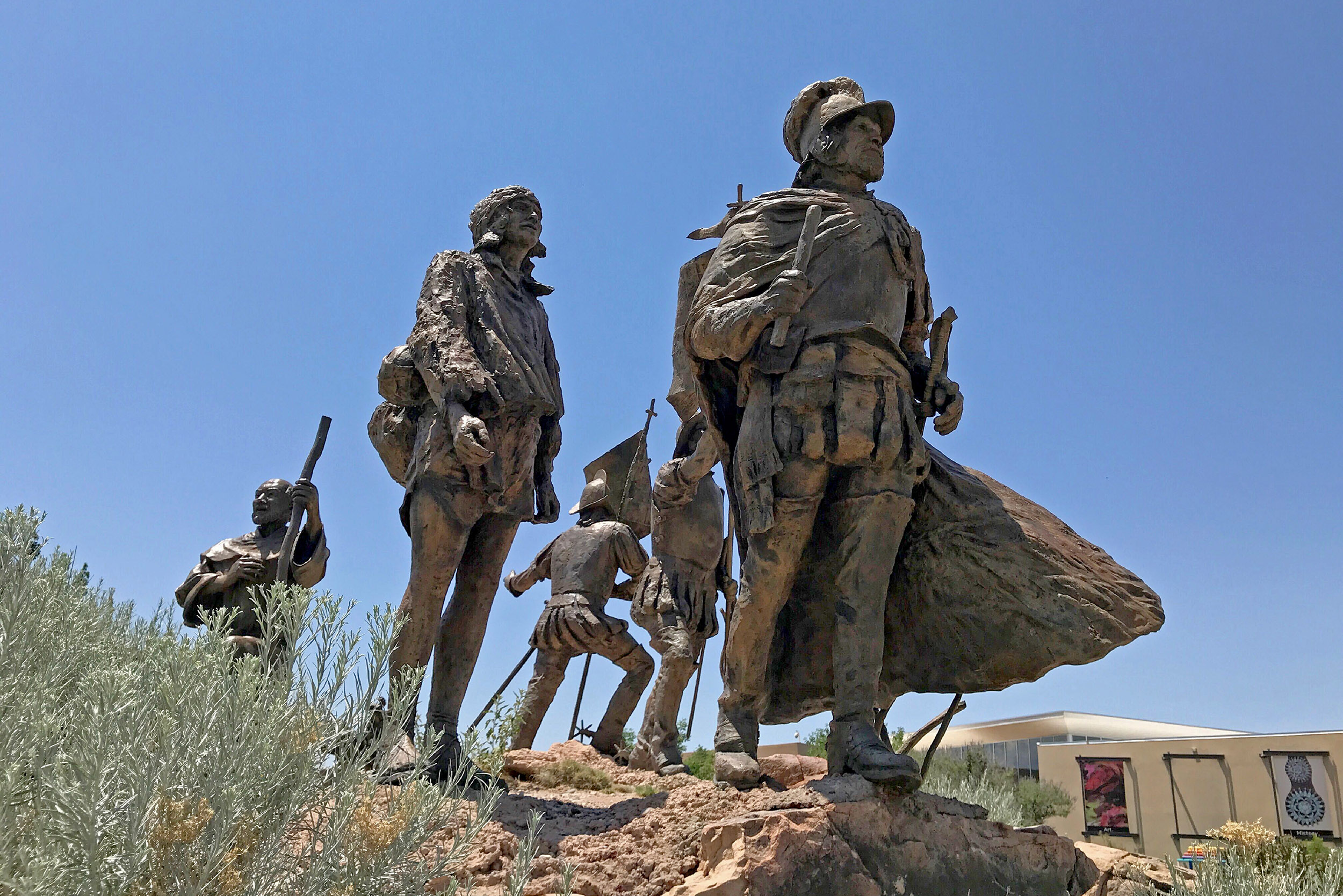 This bronze statue of Don Juan de Oñate leading a group of Spanish settlers stands outside the Albuquerque Museum in Albuquerque, New Mexico, on Friday, June 12.