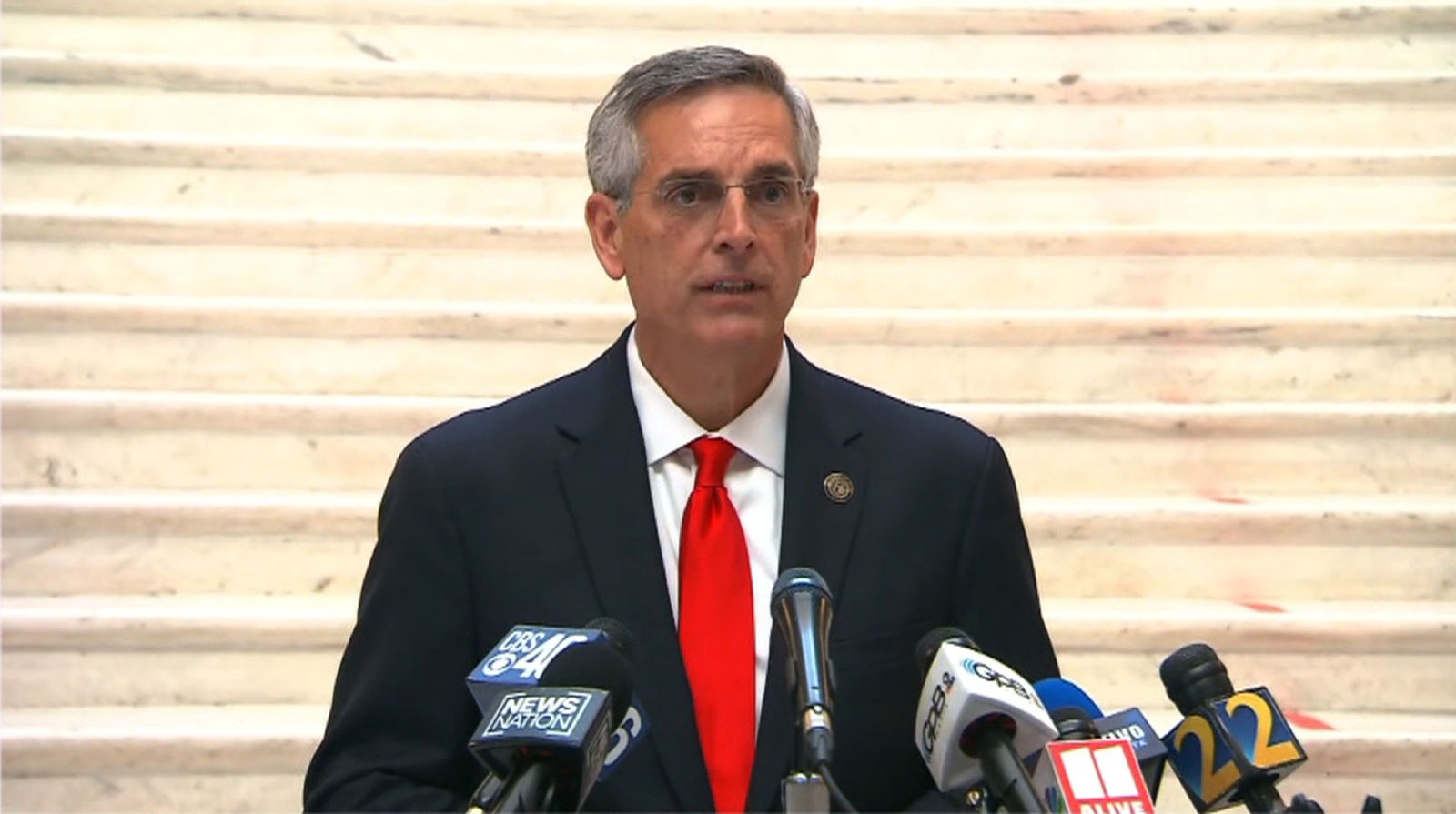 Georgia Secretary of State Brad Raffensperger speaks during a press conference on Friday, November 6.