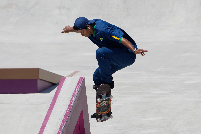 Kelvin Hoefler of Brazil competes in the street skateboarding finals on July 25.