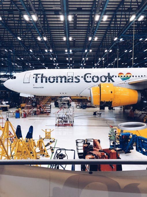 The Manchester hangar, where Thomas Cook aircraft were parked.