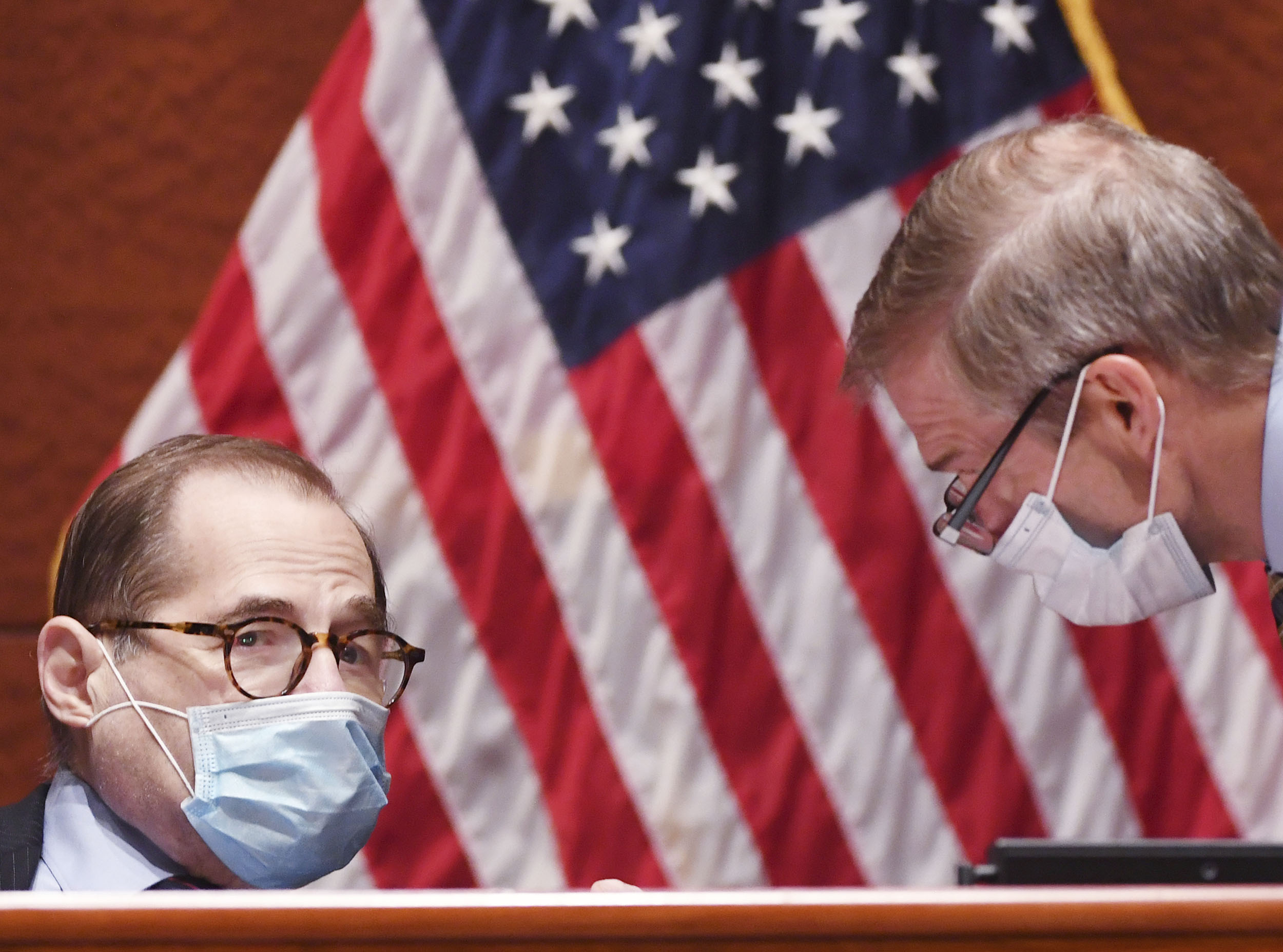 Jerry Nadler, D-N.Y., speaks with Rep. Jim Jordan, R-Ohio, during a House Judiciary Committee markup of the Justice in Policing Act of 2020 on Capitol Hill in Washington DC, on Wednesday, June 17.