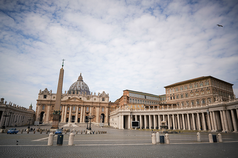 An empty St. Peter's Square is seen Monday, April 13.