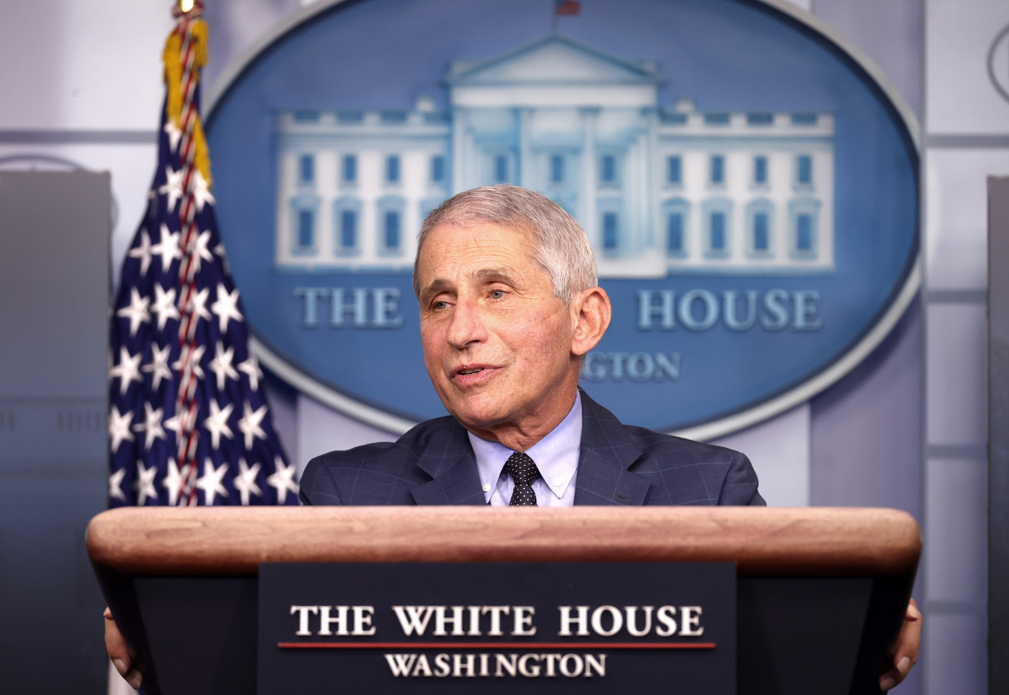 Dr. Anthony Fauci speaks during a White House Coronavirus Task Force press briefing in the James Brady Press Briefing Room at the White House on November 19 in Washington, DC.
