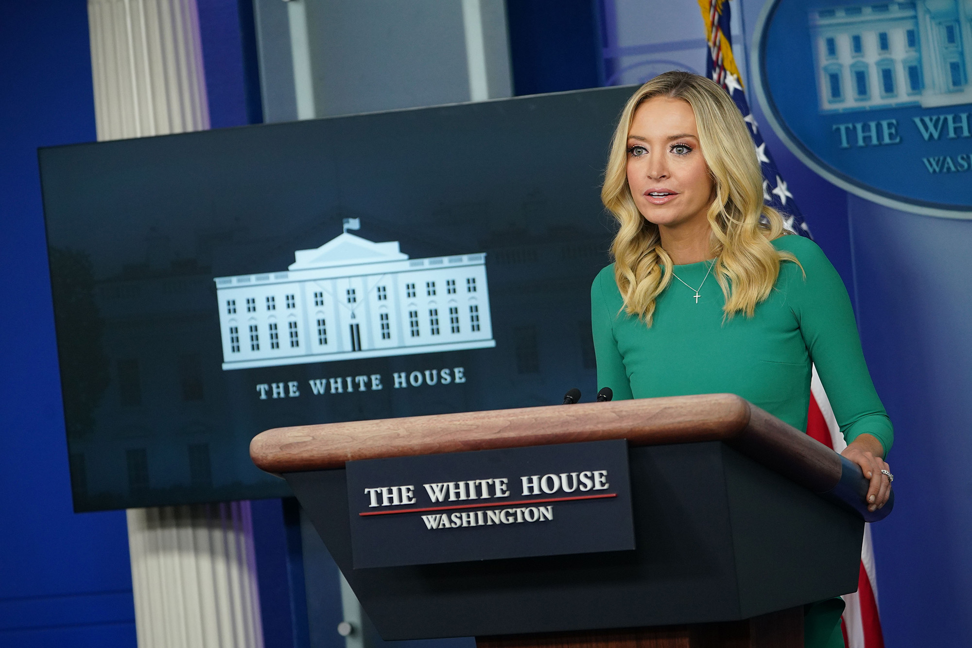 White House Press Secretary Kayleigh McEnany speaks during a press briefing at the White House in Washington DC, on November 20.