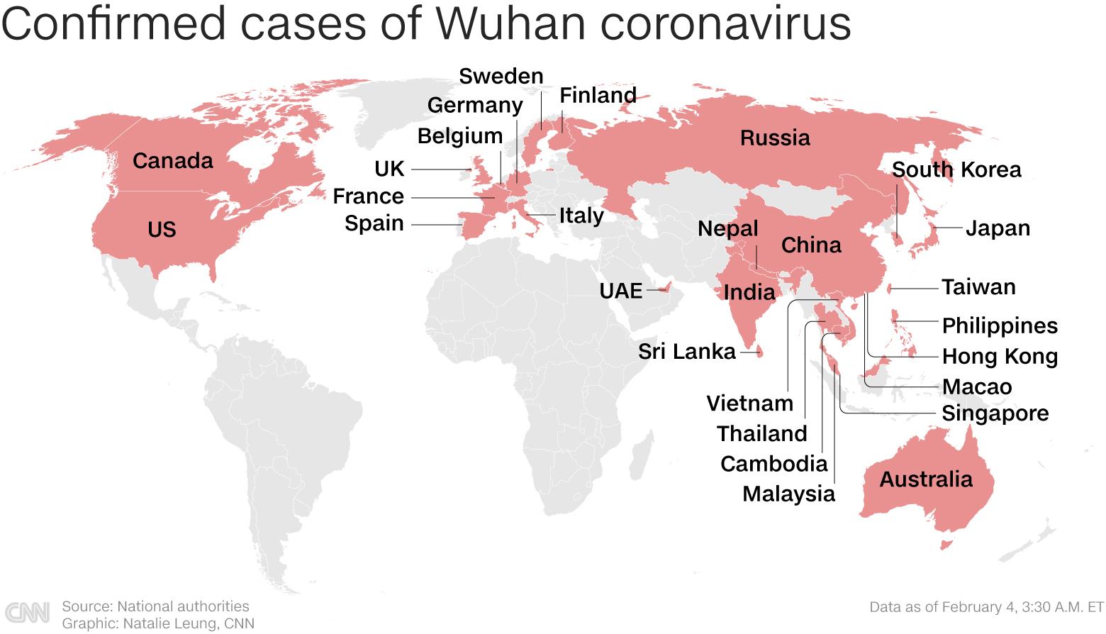 confirmed cases of Wuhan Coronavirus