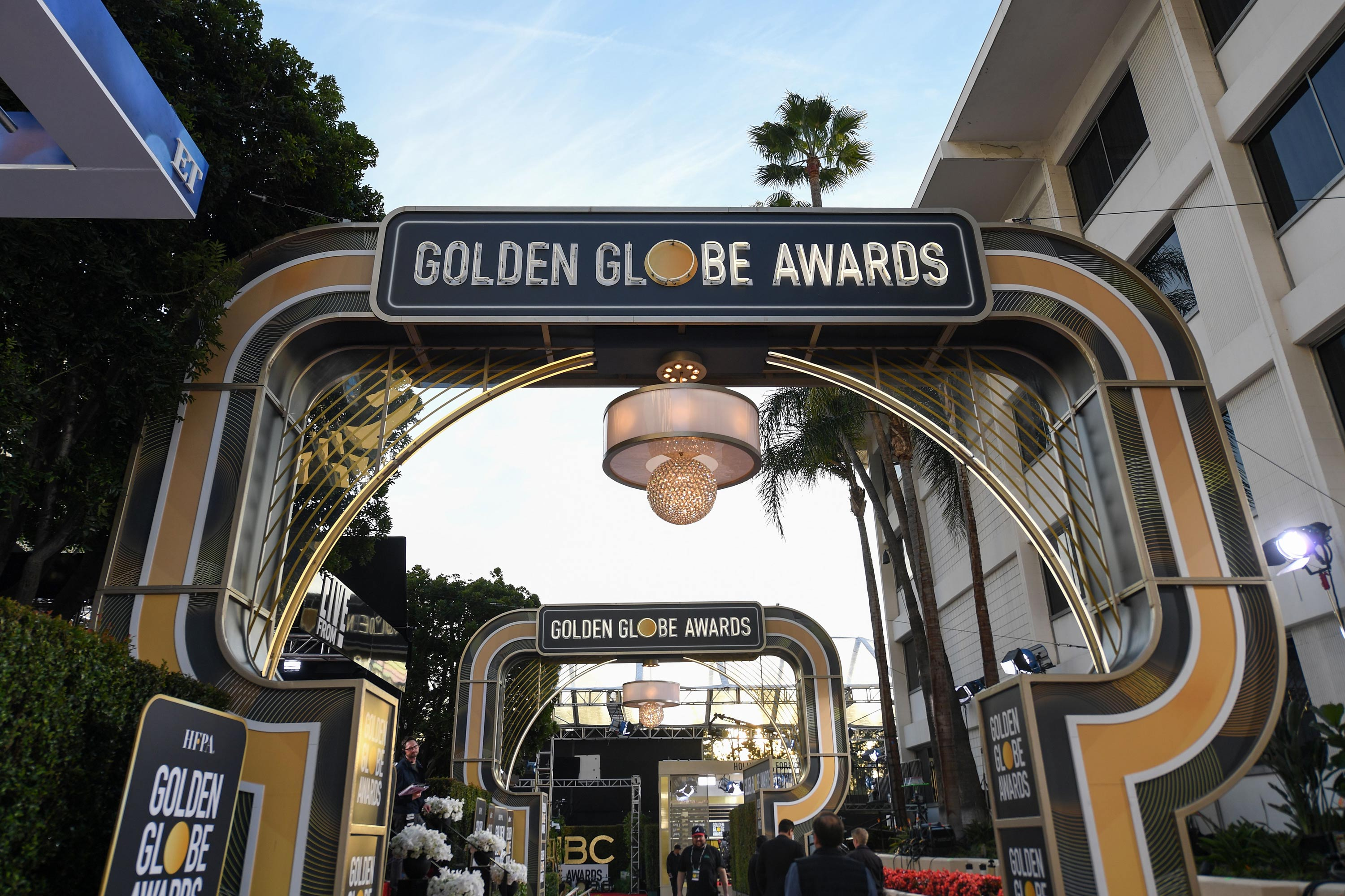 The red carpet is set up at the Golden Globes 2020 at The Beverly Hilton, in Beverly Hills, California, on January 4, 2020.