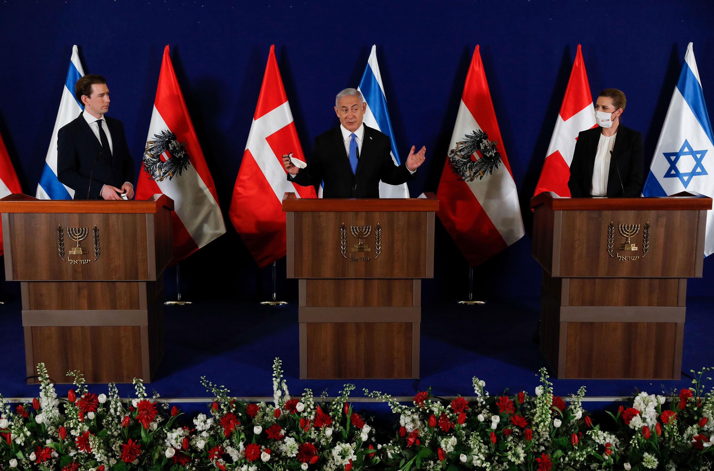 Israeli Prime Minister Benjamin Netanyahu, center, Danish Prime Minister Mette Frederiksen, left, and Austrian Chancellor Sebastian Kurz, give a joint press conference at the prime minister's office in Jerusalem on March 4.