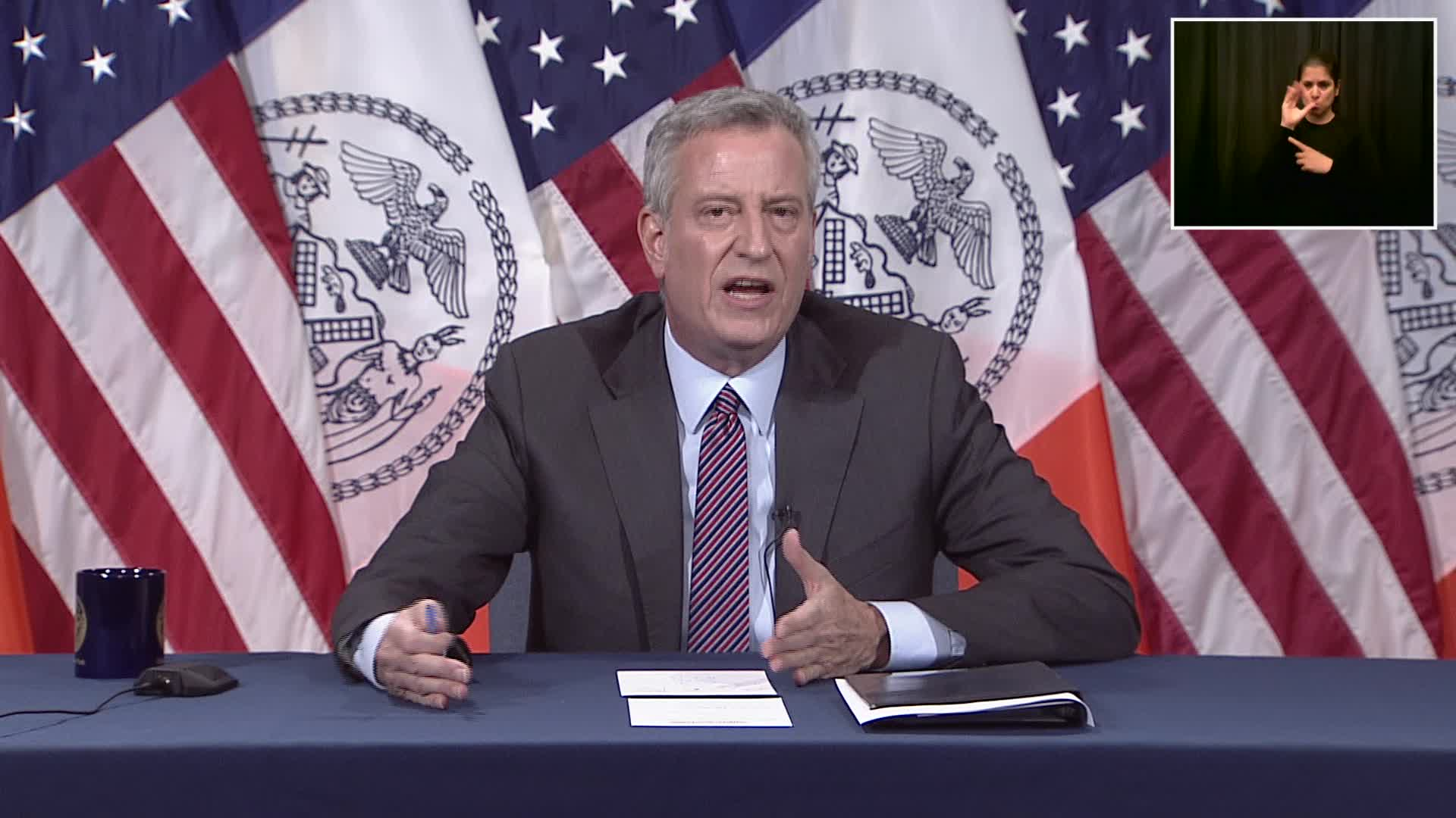 New York City Mayor Bill de Blasio speaks during a coronavirus briefing on May 15 in New York City.
