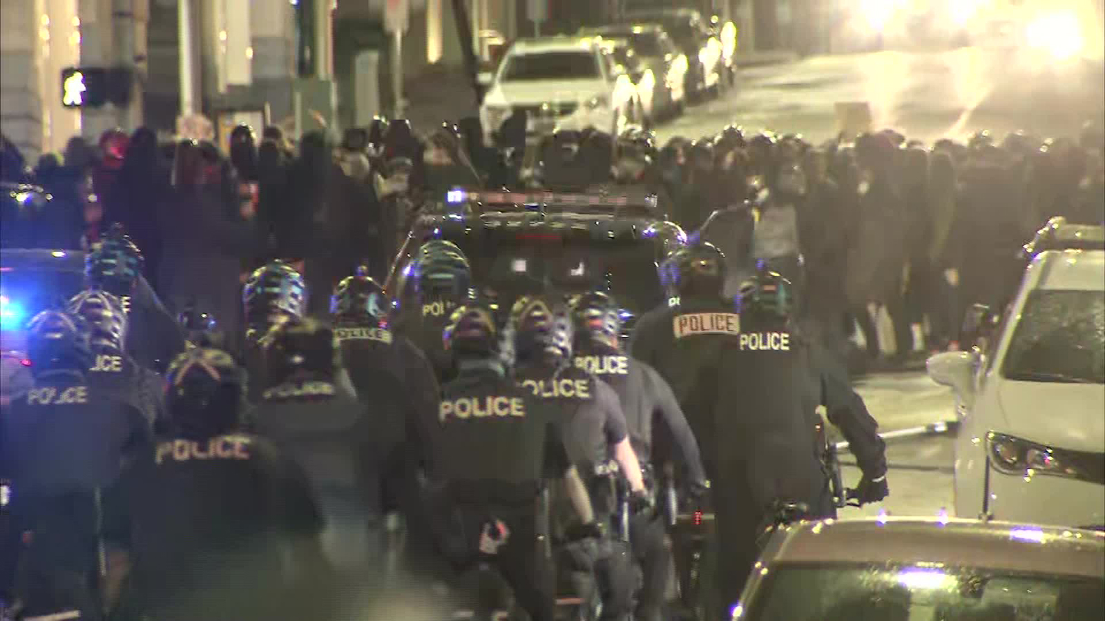 Protesters clashed with police in Seattle, Washington, on September 23.