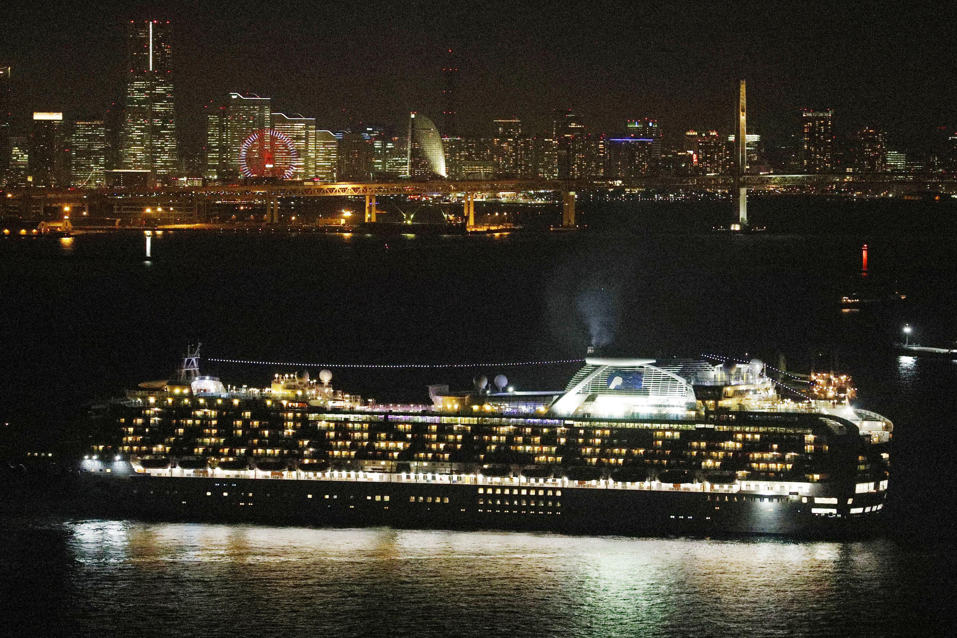 Cruise ship Diamond Princess sits anchored off the Yokohama Port, Japan, upon its arrival on Monday, February 3.