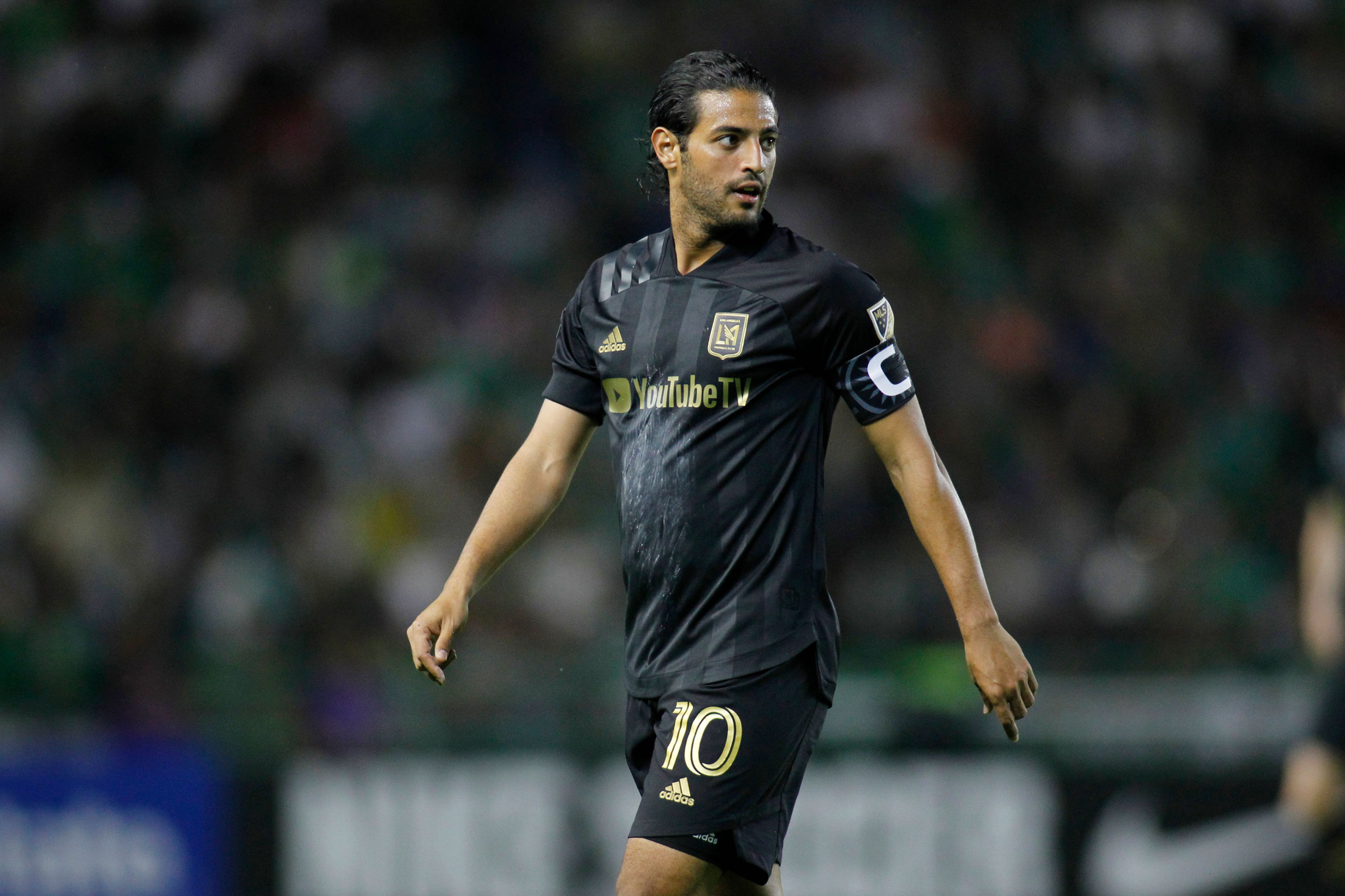 Carlos Vela of LAFC looks onduring the round 16 match between Leon and LAFC as part of the CONCACAF Champions League 2020 at Leon Stadium on February 18 in Leon, Mexico.