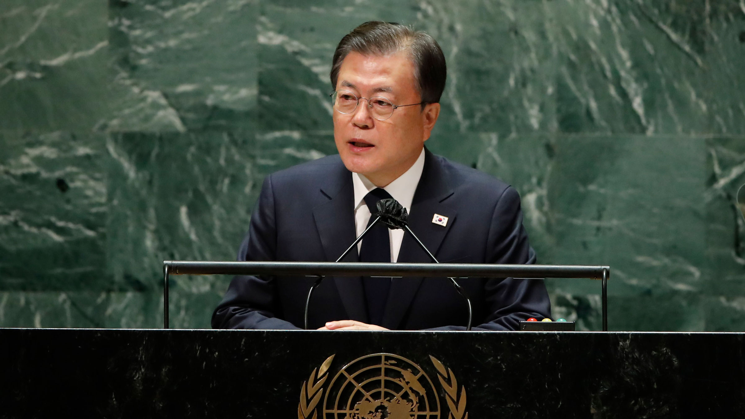 South Korean President Moon Jae-in addresses the General Assembly on Tuesday.