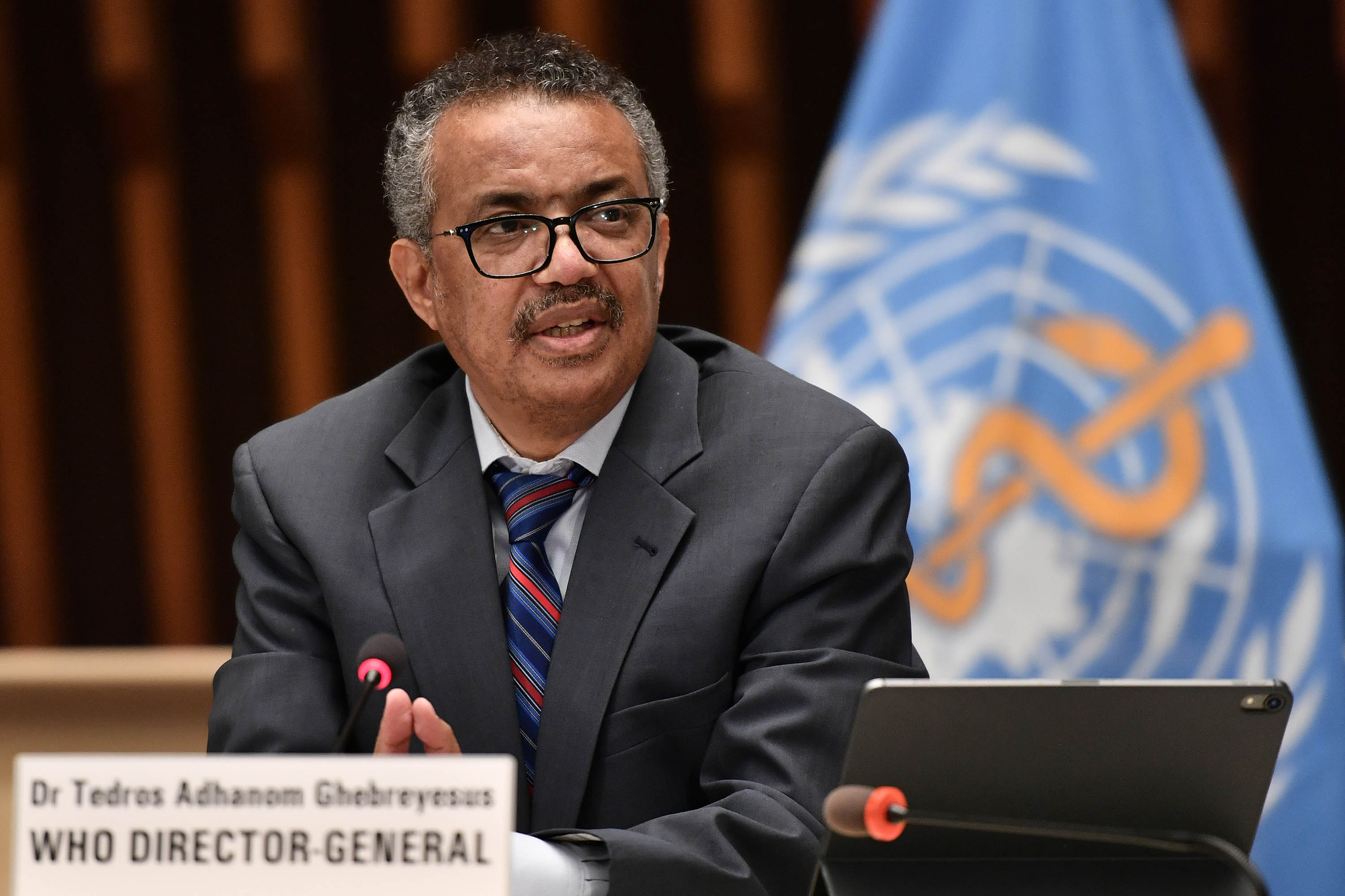 World Health Organization (WHO) Director-General Tedros Adhanom Ghebreyesus is pictured at a press conference at the WHO headquarters in Geneva, Switzerland, in July 2020.