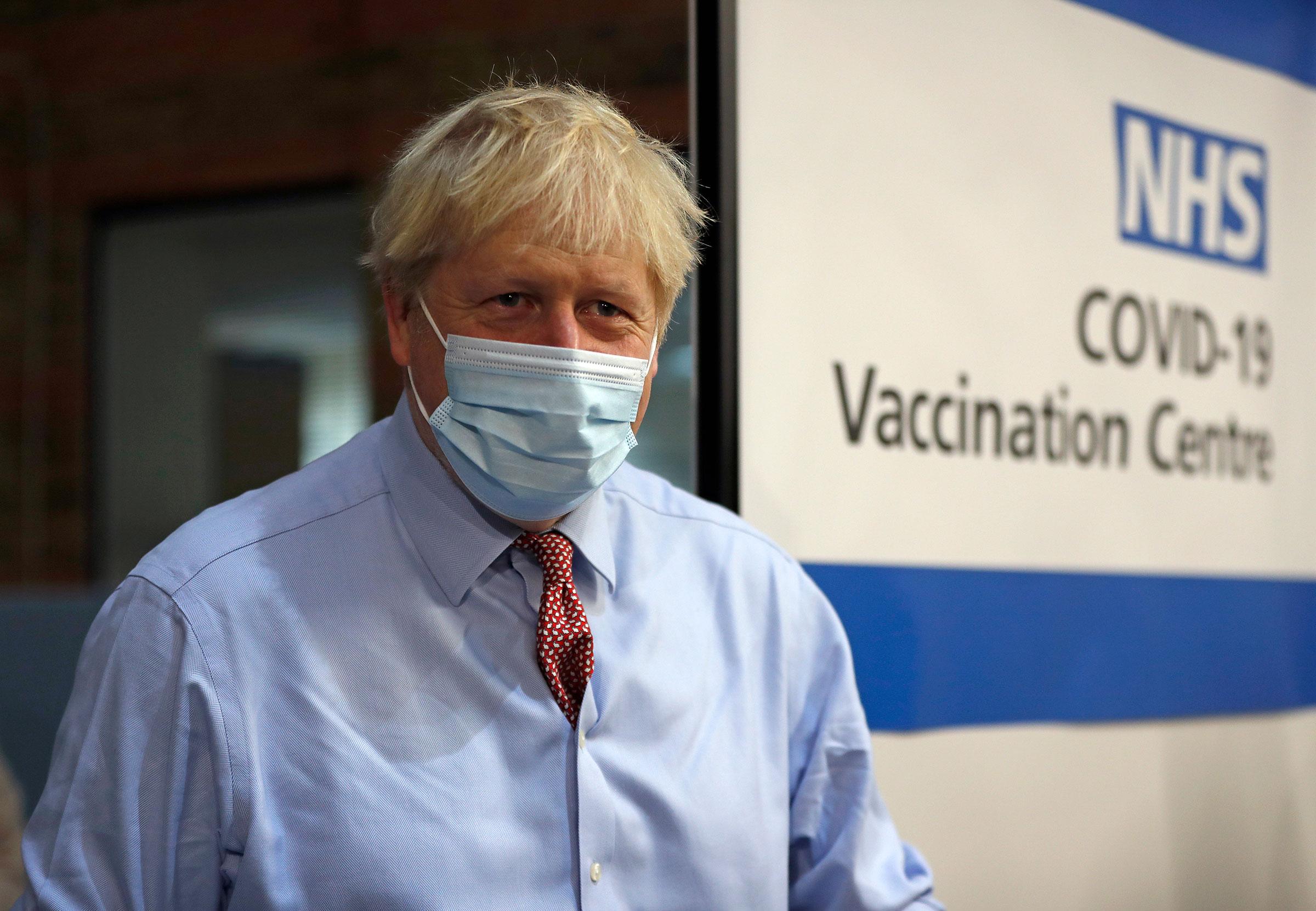 British Prime Minister Boris Johnson visits Guy's Hospital on December 8 in London.
