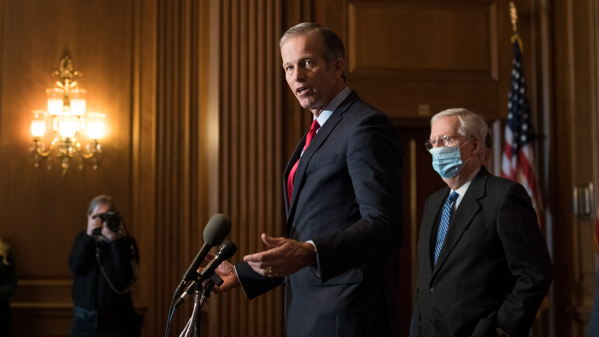 Senate Majority Whip John Thune speaks during a news conference at the U.S. Capitol on December 15 in Washington, DC.