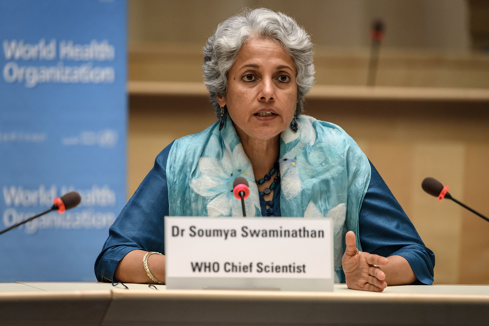 World Health Organization (WHO) Chief Scientist Soumya Swaminathan attends a news conference at WHO headquarters in Geneva, Switzerland, on July 3.
