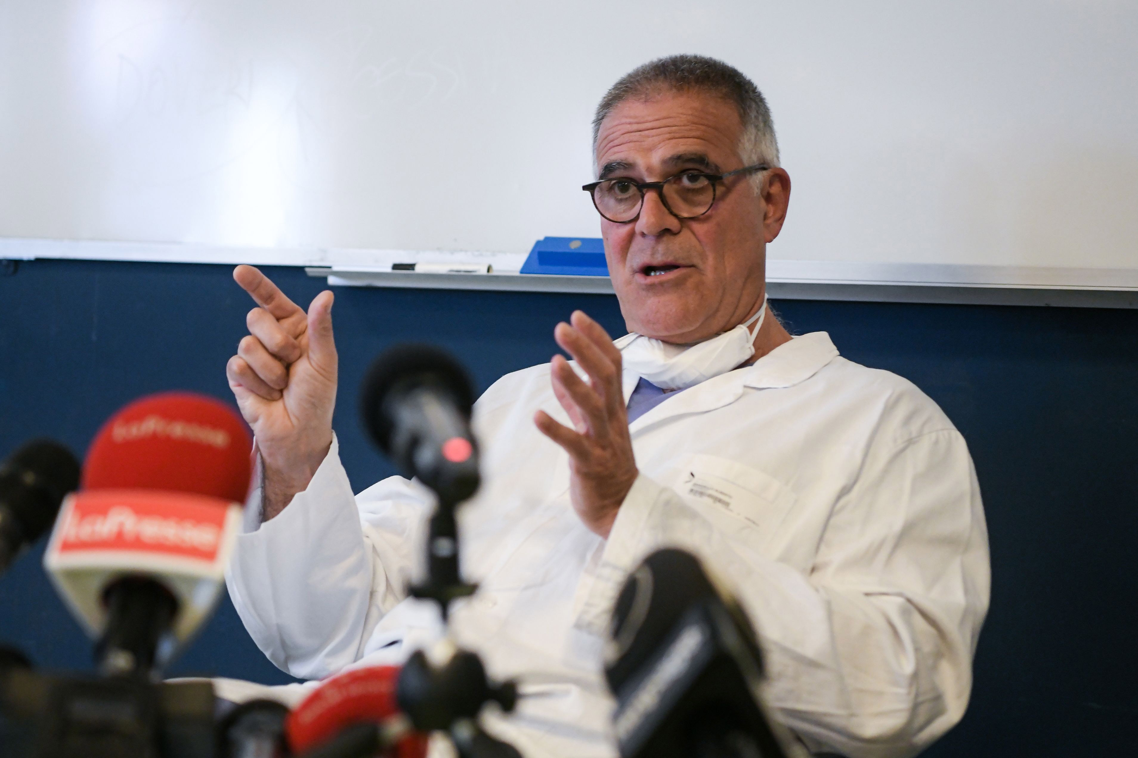 Italian professor Alberto Zangrillo, personal doctor of former Italian prime minister Silvio Berlusconi, speaks during a press conference at the San Raffaele Hospital in Milan, on September 4.