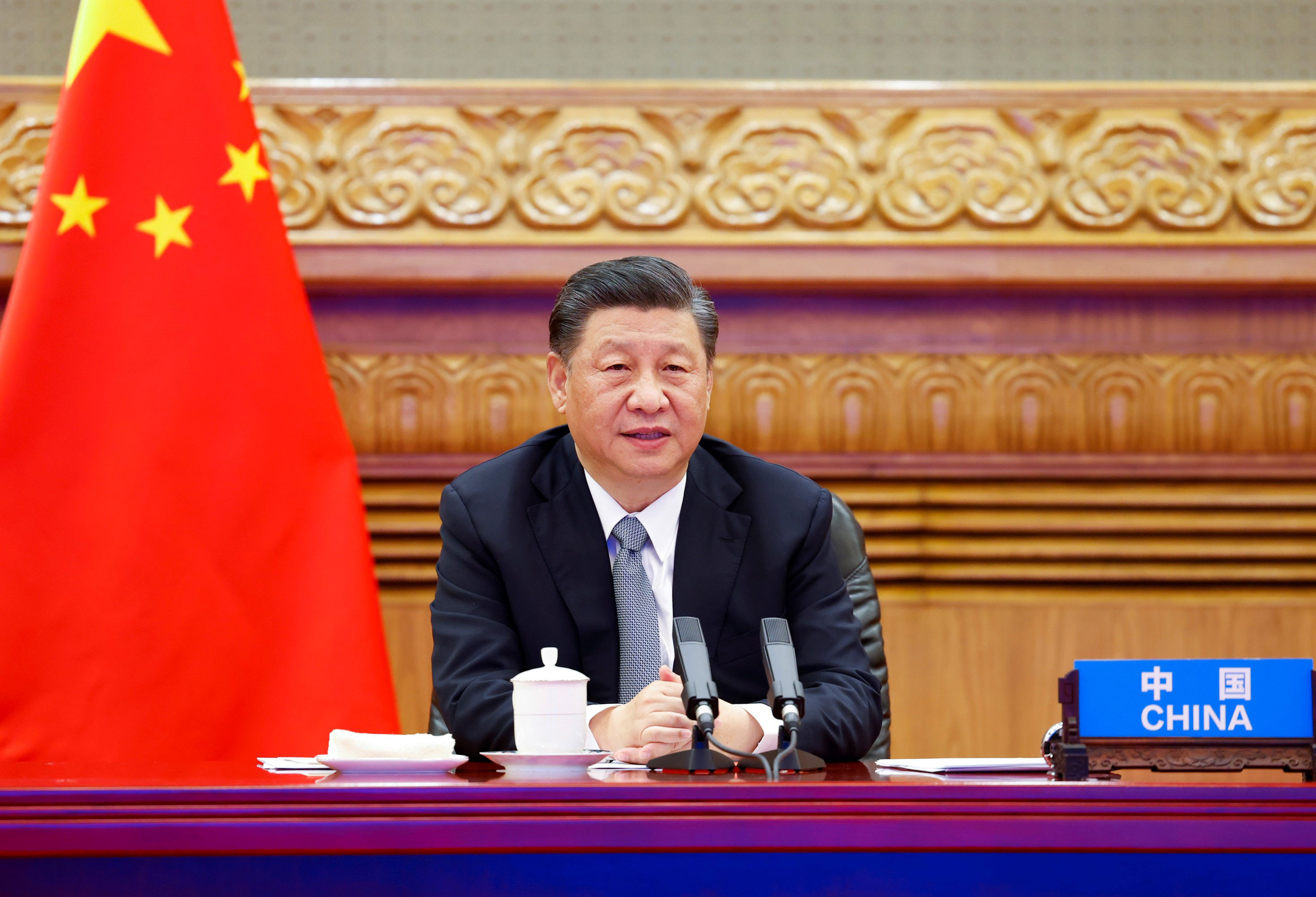 Chinese President Xi Jinping attends the Leaders Summit on Climate via video in Beijing on April 22.