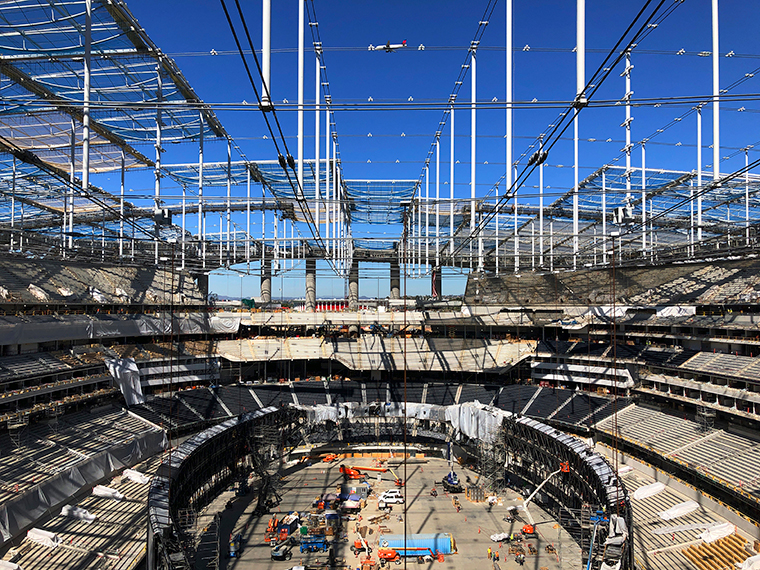 Construction progress on the SoFi Stadium is seen  on Wednesday, February 26, in Inglewood, California. T